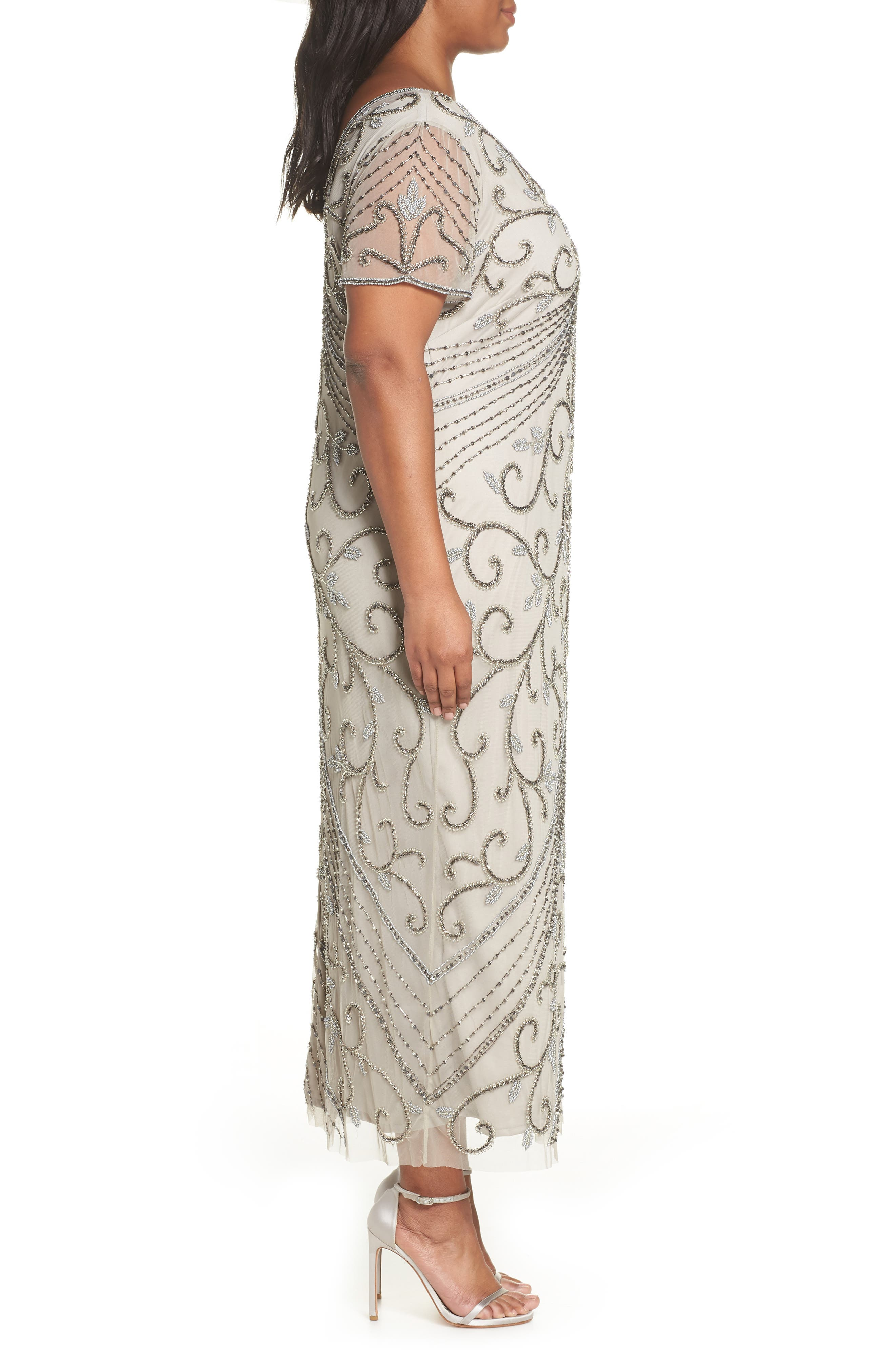 PISARRO NIGHTS, Beaded Mesh Gown, Alternate thumbnail 4, color, SILVER