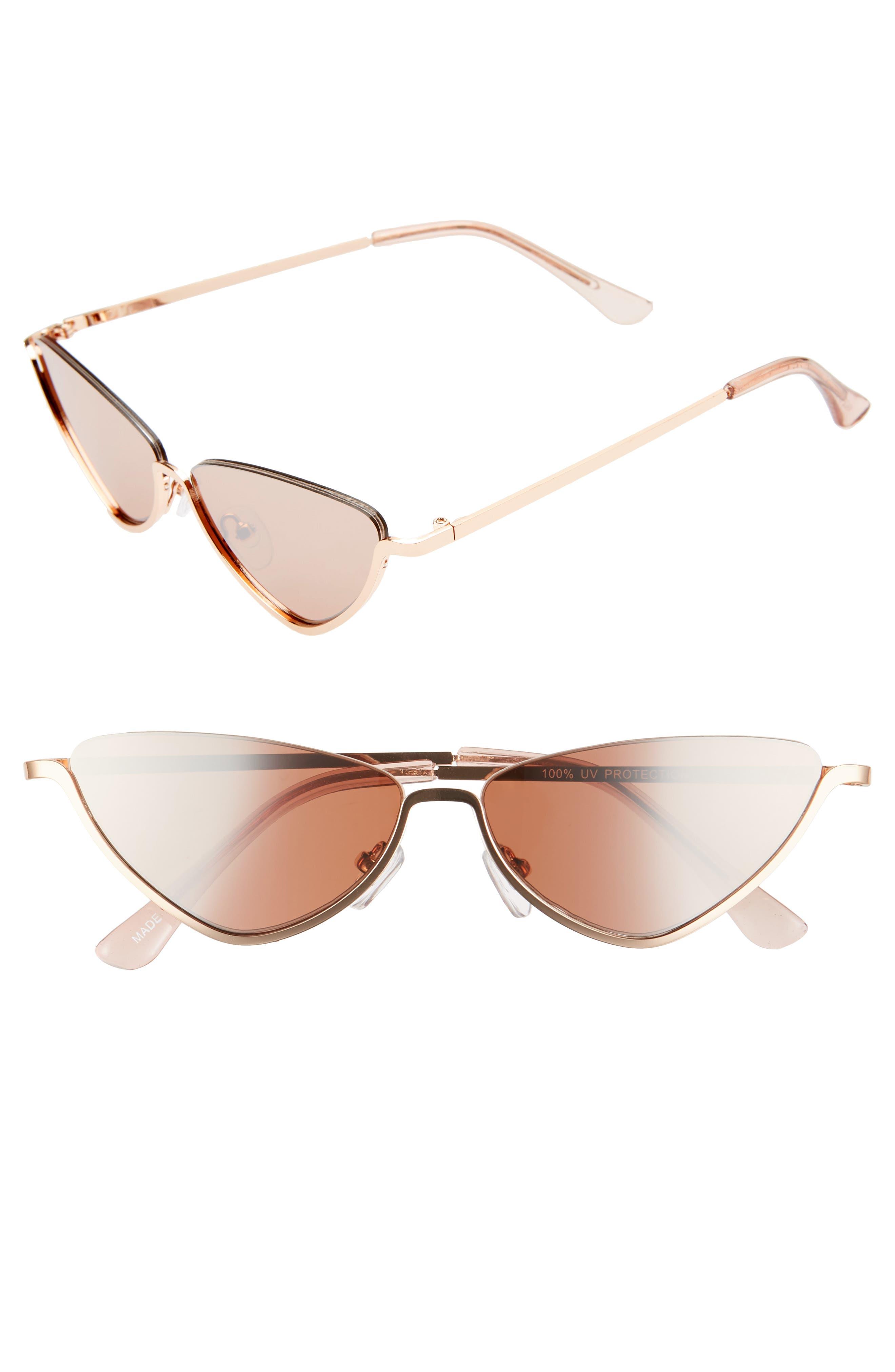e5fc8d87b6377 Leith 52Mm Semi Rimless Cat Eye Sunglasses - Gold rose Gold