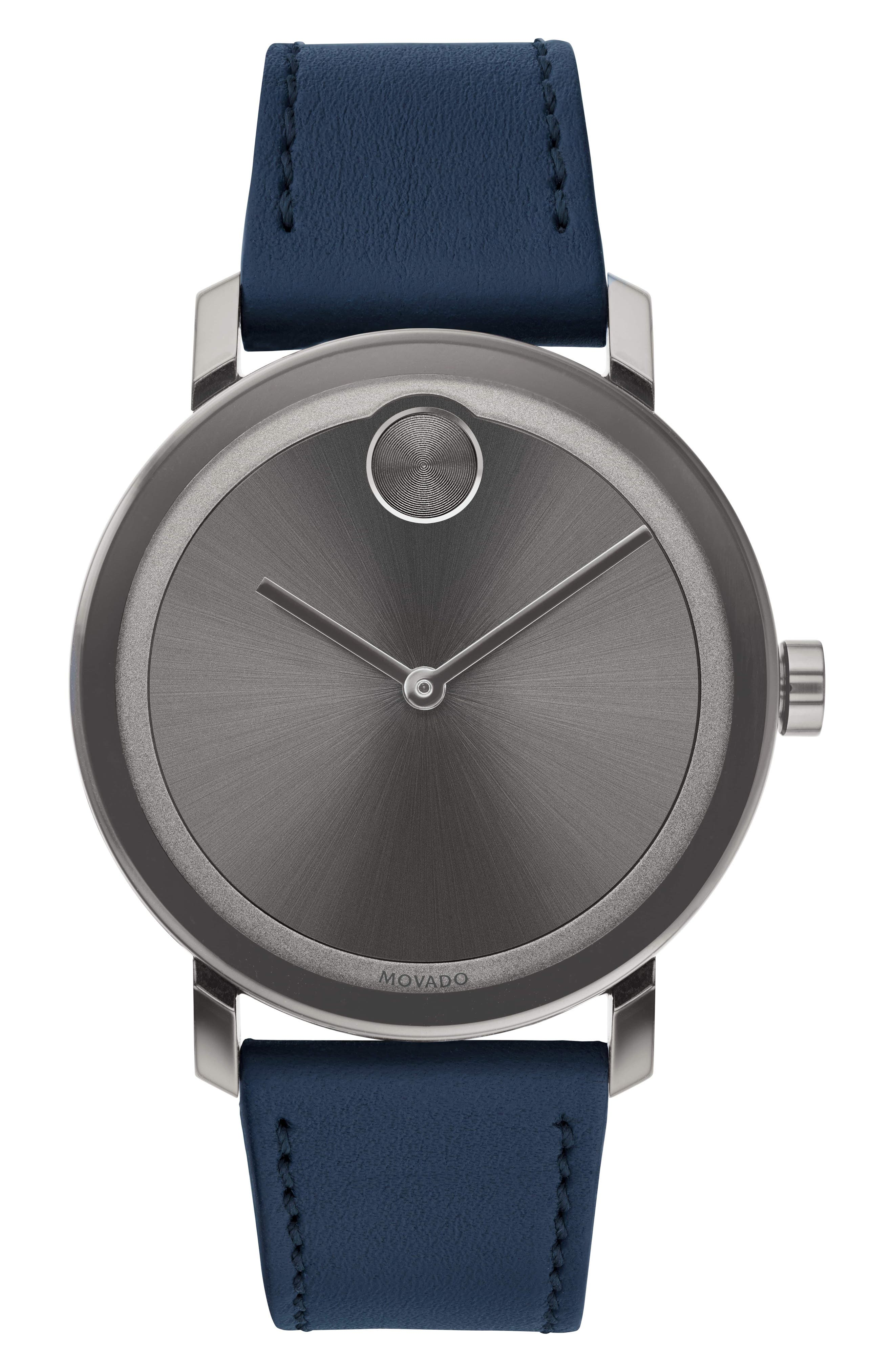 MOVADO, Bold Leather Strap Watch, 40mm, Main thumbnail 1, color, NAVY/ GREY