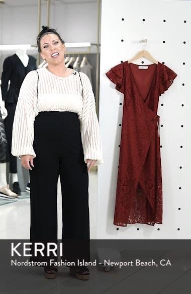 Ruffle Sleeve Wrap Lace Midi Dress, sales video thumbnail