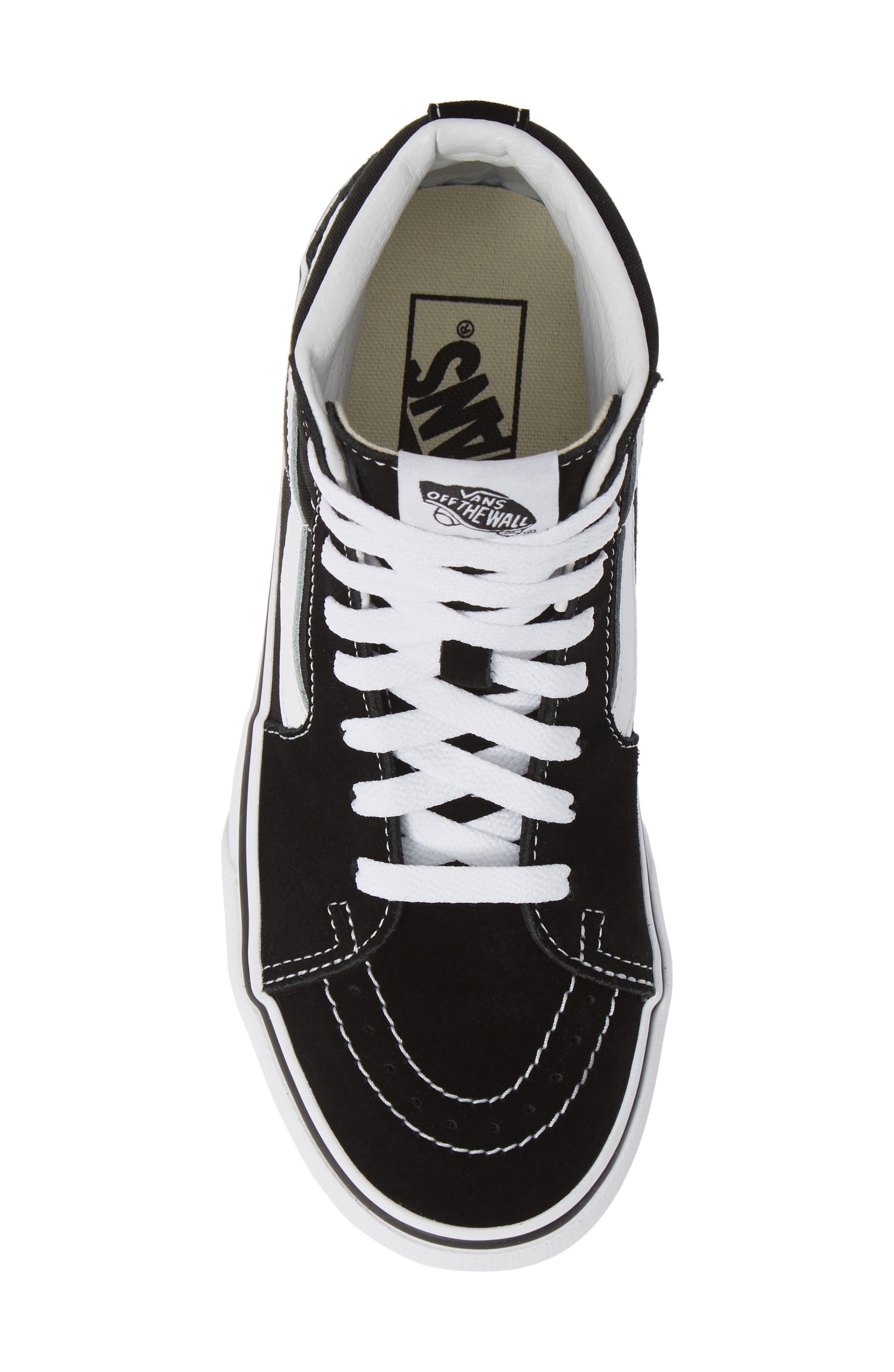 VANS, Sk8-Hi Platform Sneaker, Alternate thumbnail 5, color, BLACK/ TRUE WHITE