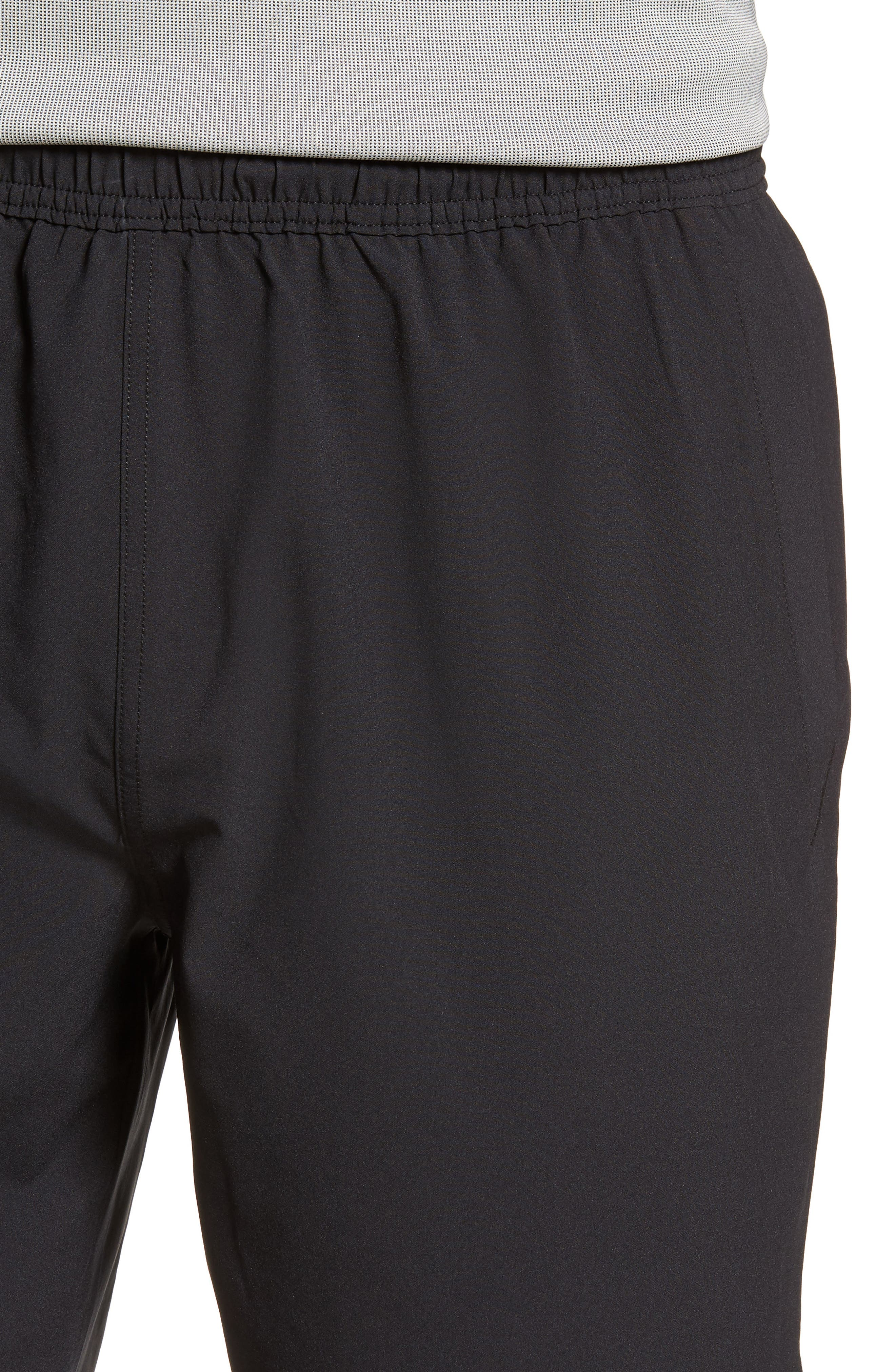 ZELLA, Graphite Perforated Shorts, Alternate thumbnail 5, color, BLACK