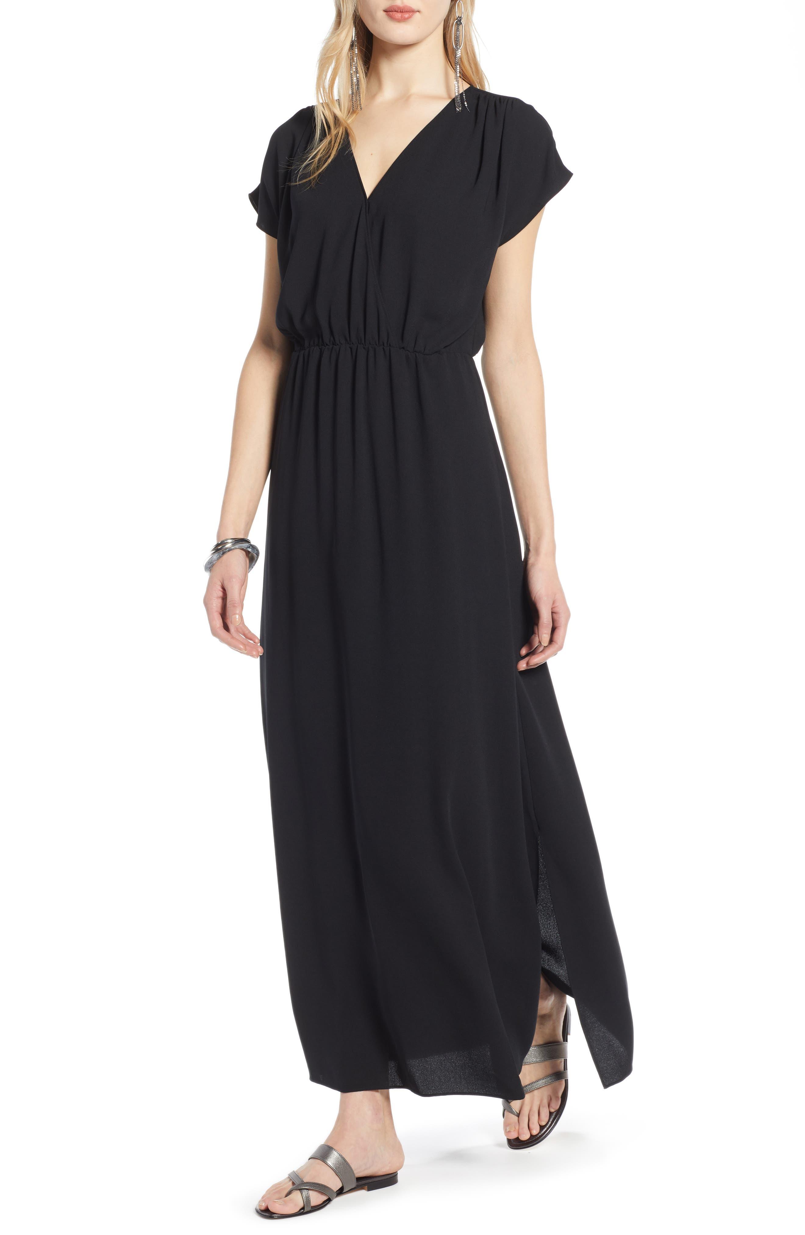 HALOGEN<SUP>®</SUP>, V-Neck Maxi Dress, Main thumbnail 1, color, BLACK