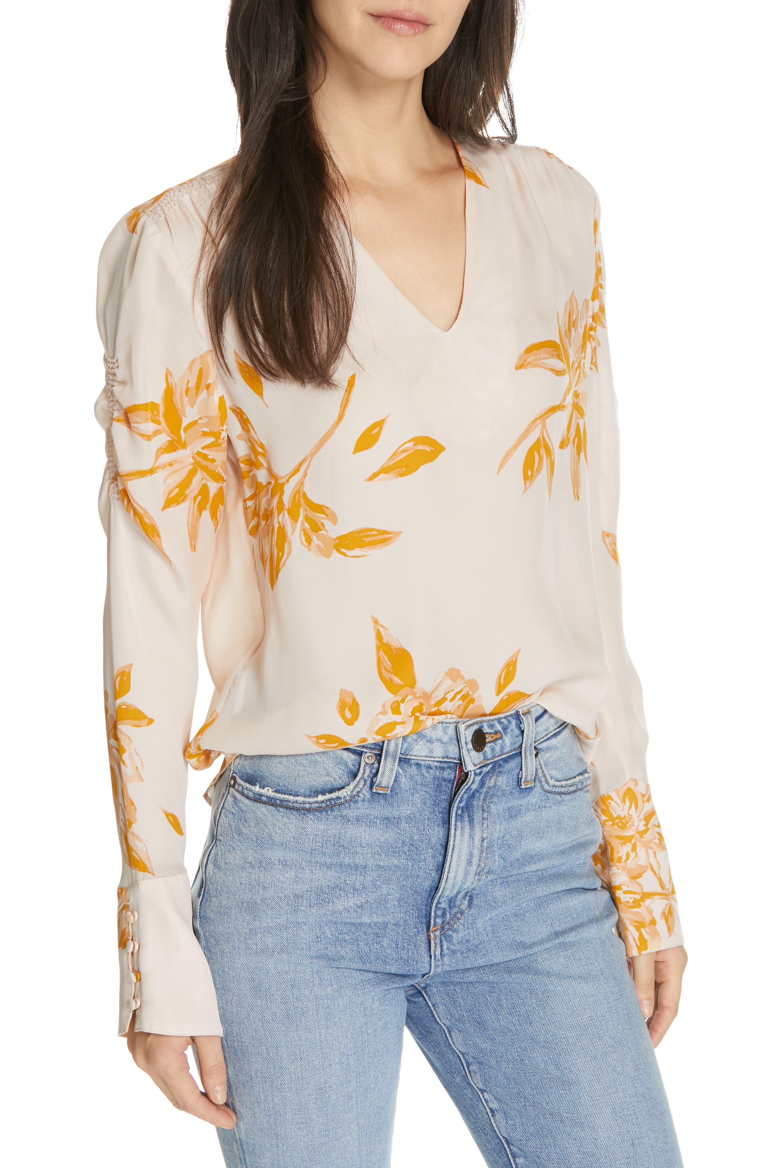JOIE, Galvin Floral Silk Top, Main thumbnail 1, color, SHIMMER