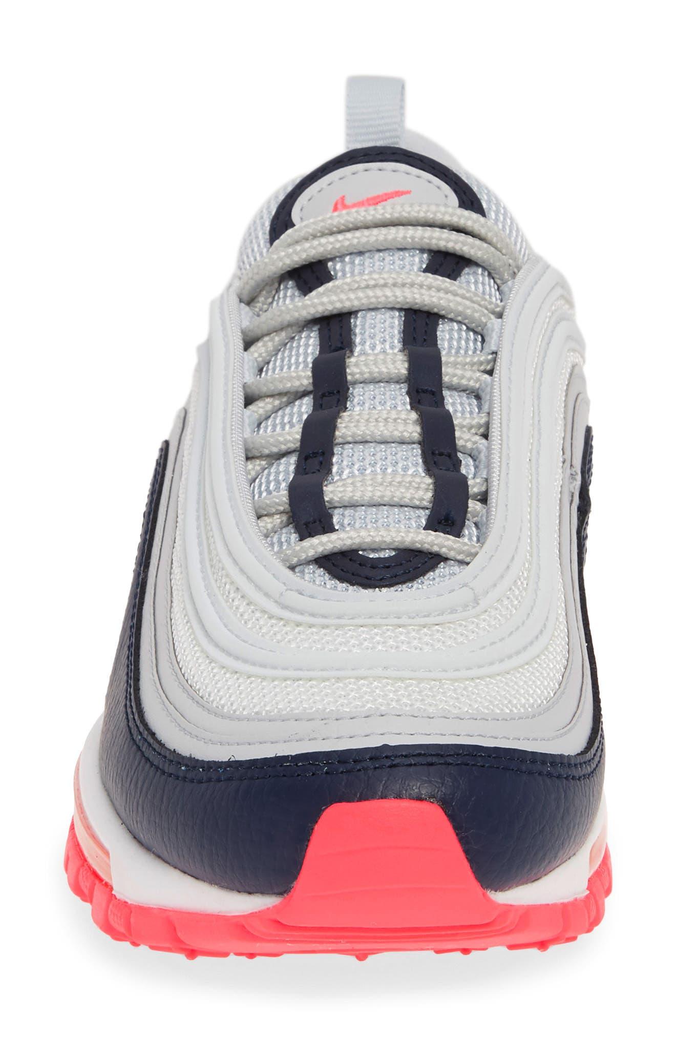 NIKE, Air Max 97 Sneaker, Alternate thumbnail 4, color, PLATINUM/ LASER ORANGE/ NAVY