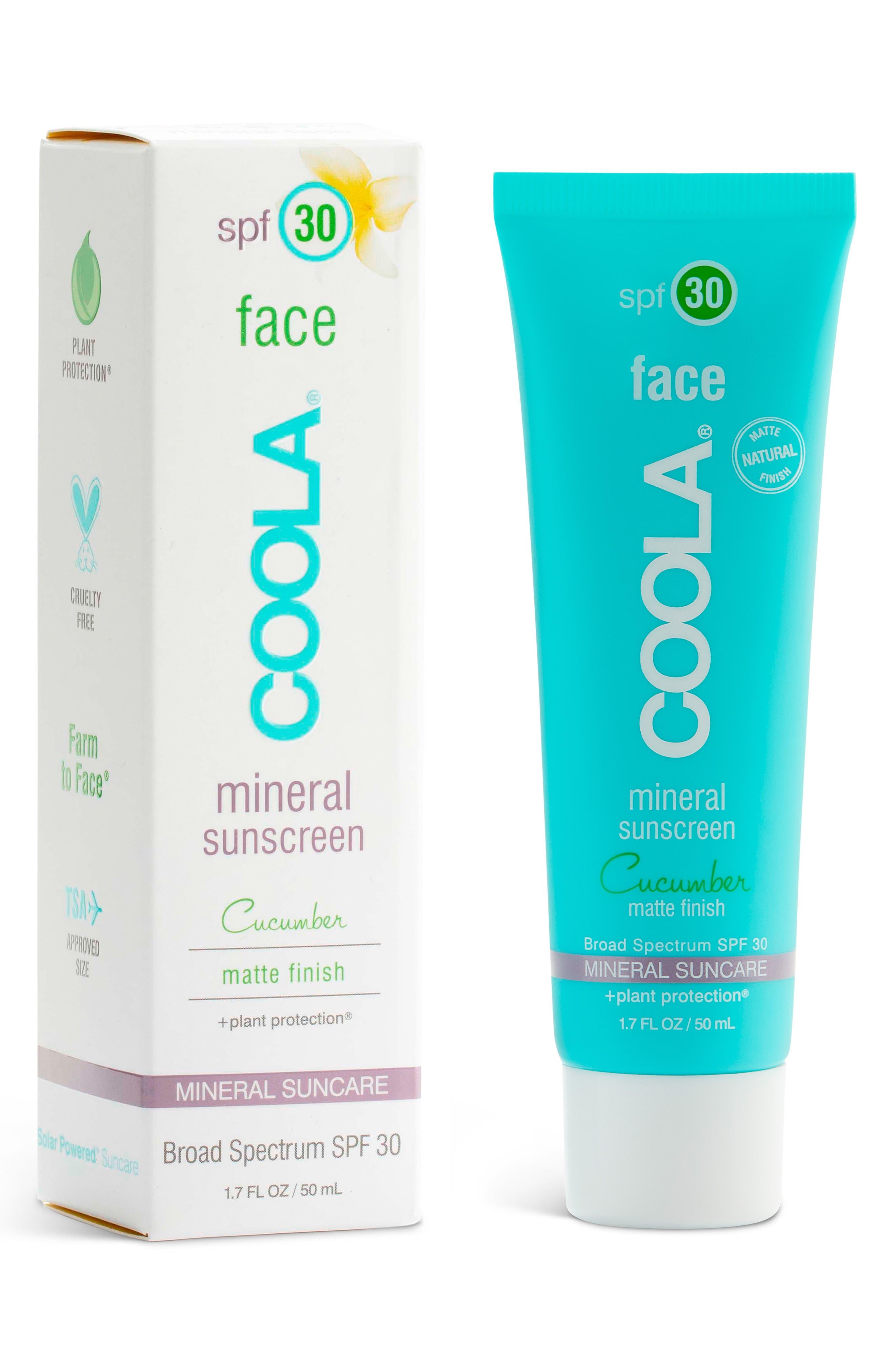 COOLA SUNCARE, COOLA<sup>®</sup> Suncare Cucumber Face Mineral Sunscreen SPF 30, Main thumbnail 1, color, NO COLOR