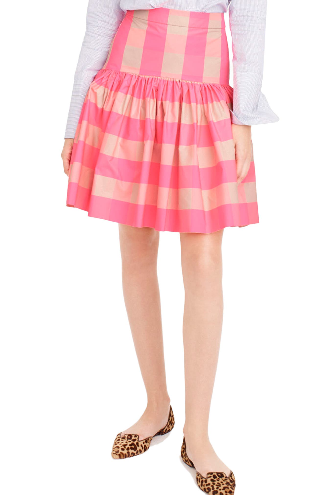 J.CREW, Neon Buffalo Check Taffeta Skirt, Main thumbnail 1, color, 651