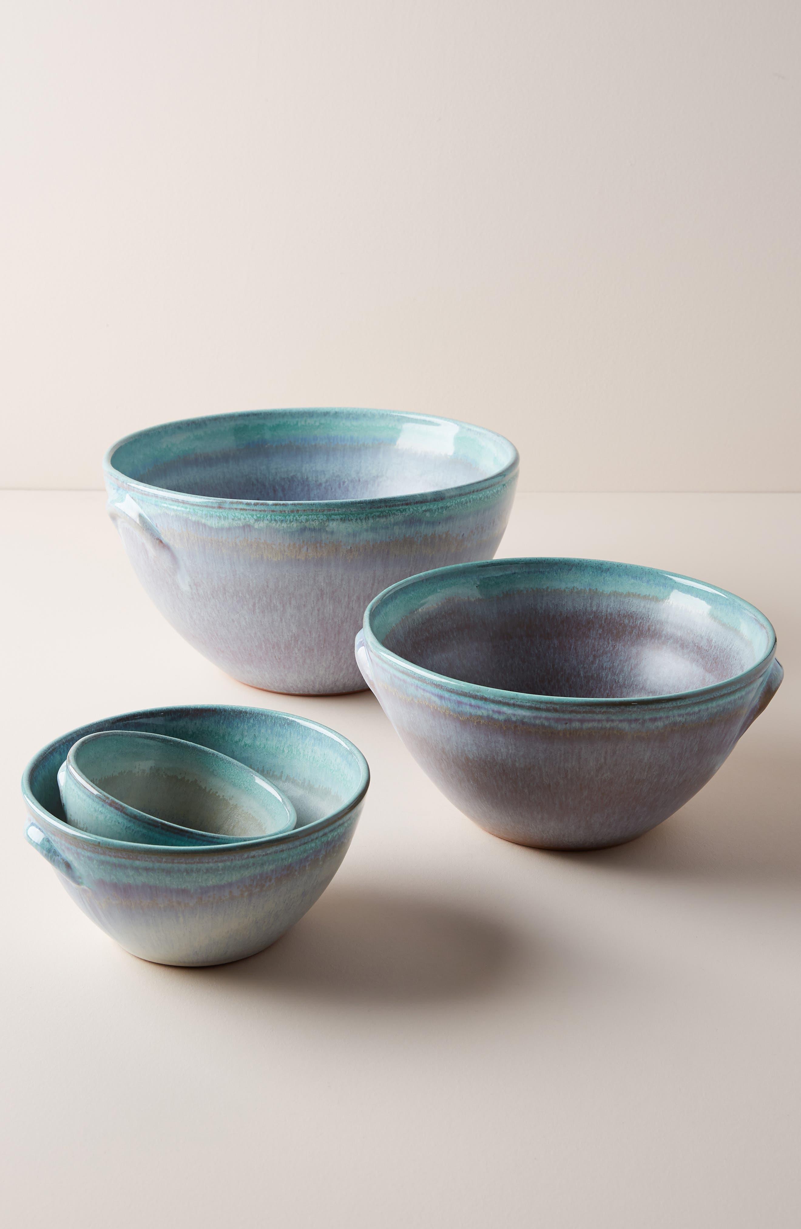 ANTHROPOLOGIE Misty Set of 4 Bowls, Main, color, WHITE/ MINT