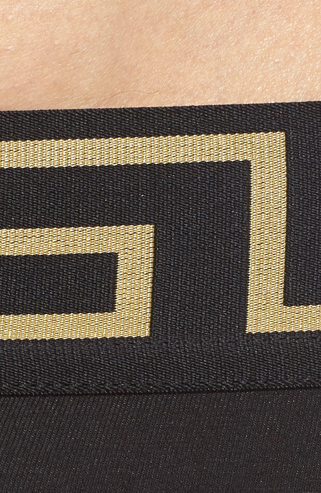 VERSACE, Cotton Thong, Alternate thumbnail 3, color, BLACK/ GOLD