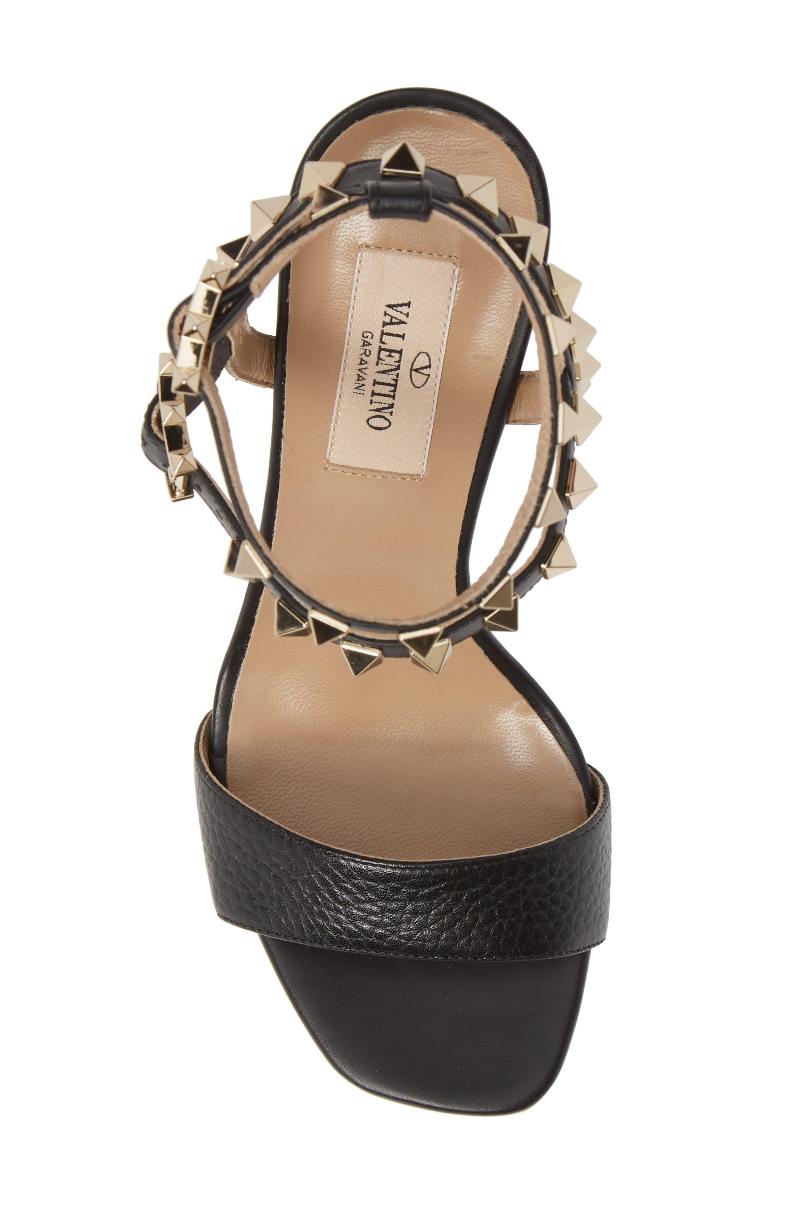 VALENTINO GARAVANI, Rockstud Ankle Strap Block Sandal, Alternate thumbnail 5, color, BLACK/ BLACK