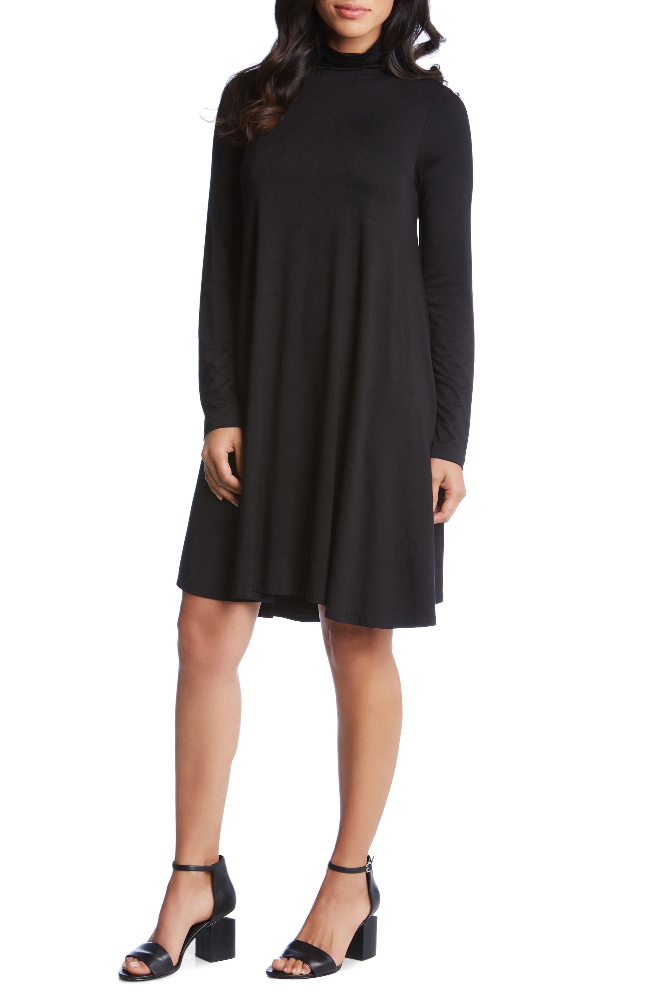 KAREN KANE Maggie Turtleneck Trapeze Dress, Main, color, BLACK