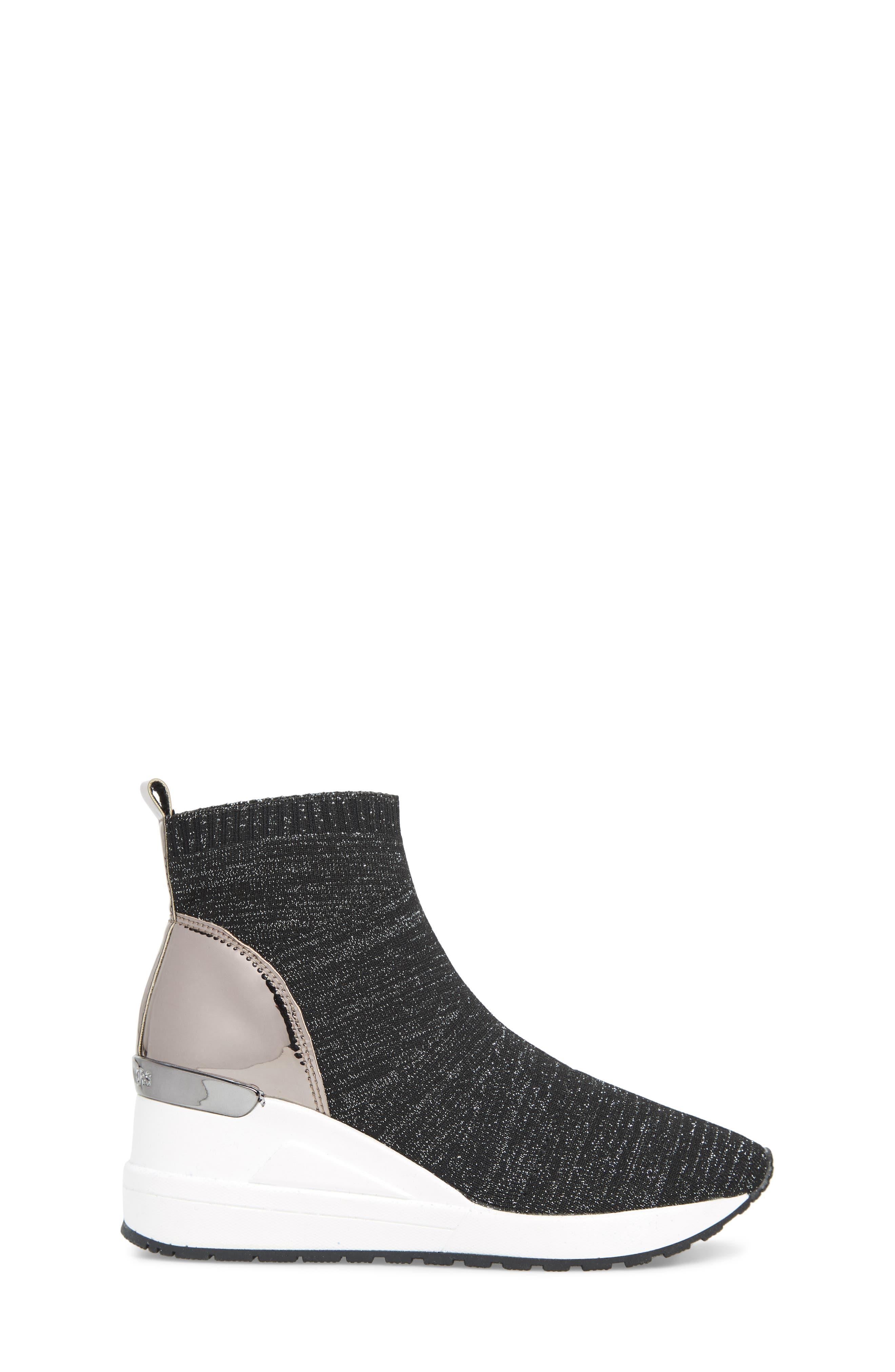MICHAEL MICHAEL KORS, Neo Flex Metallic Wedge Sneaker, Alternate thumbnail 3, color, BLACK METALLIC