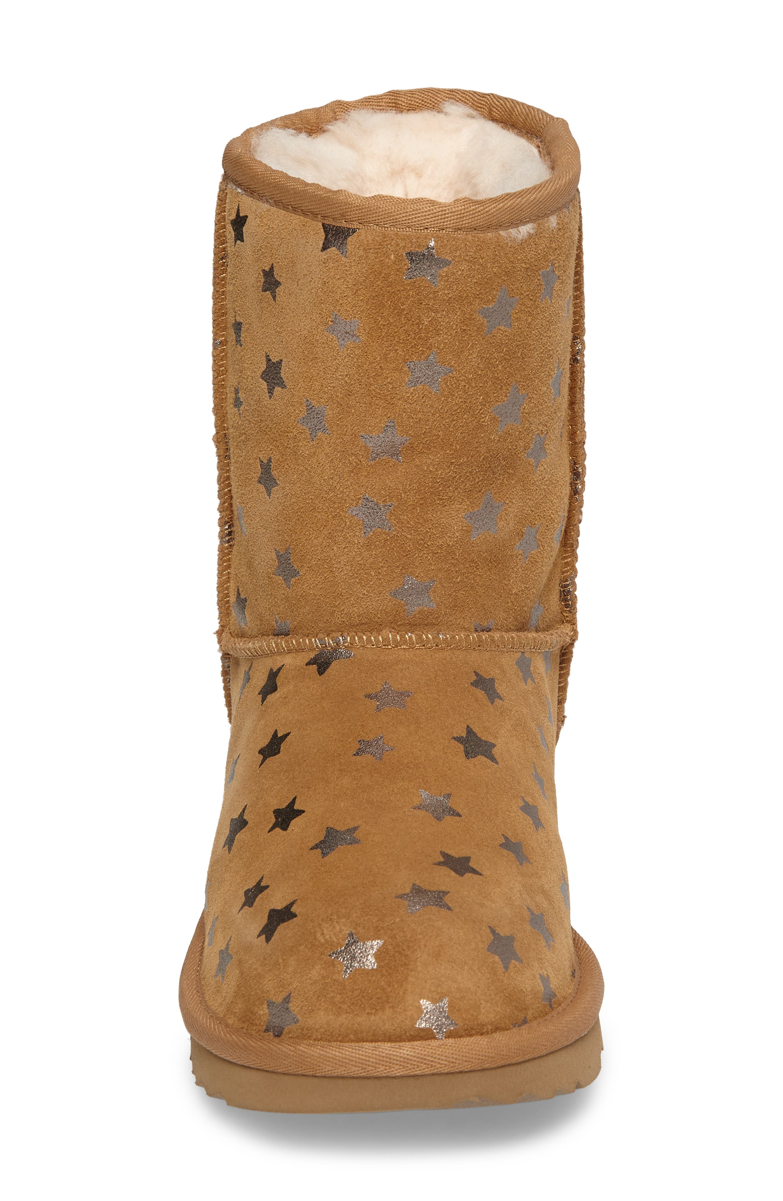 UGG<SUP>®</SUP>, Classic Short II Water Resistant Stars Boot, Alternate thumbnail 4, color, CHESTNUT