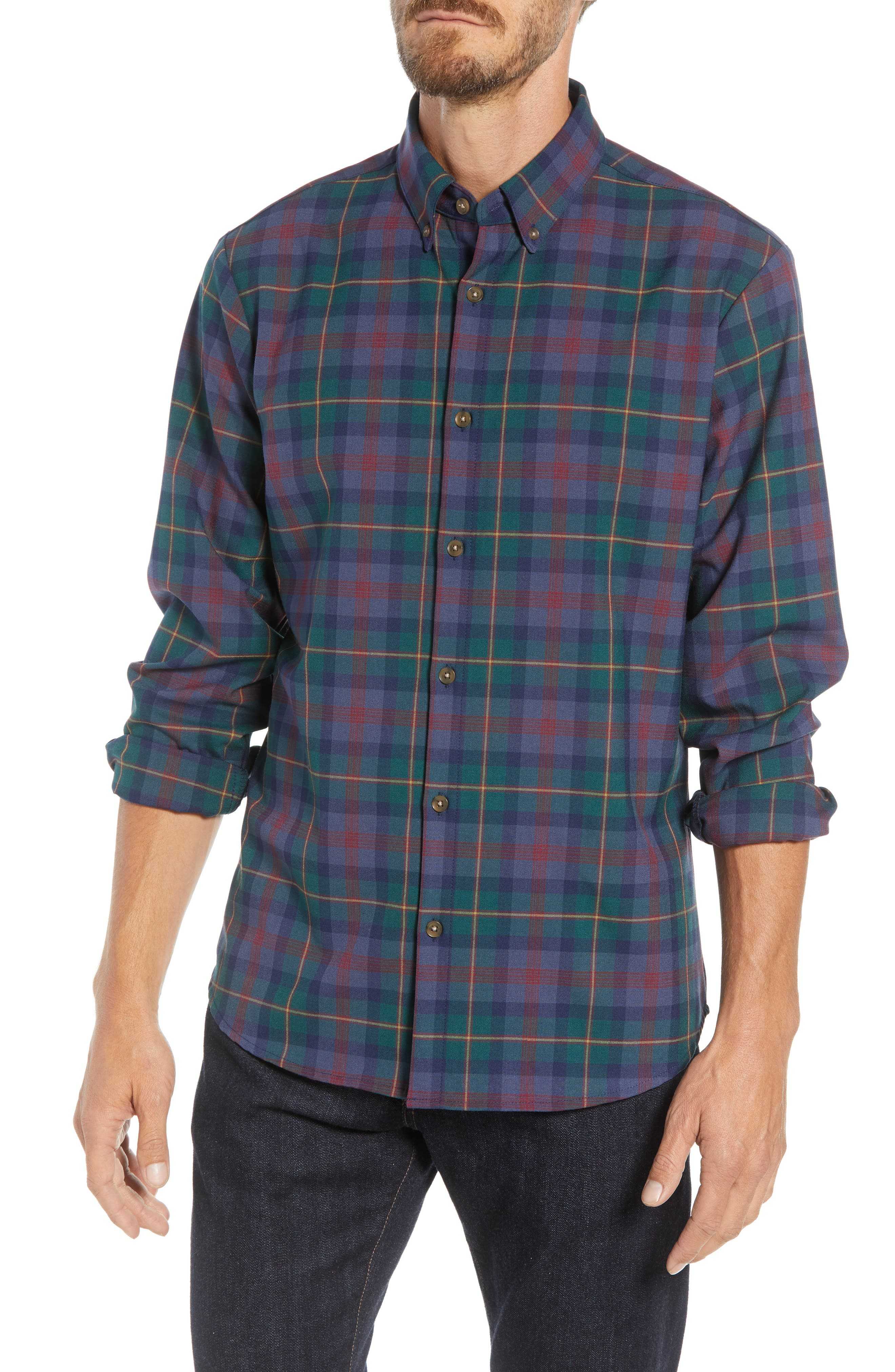 MIZZEN+MAIN Yukon Trim Fit Flannel Performance Sport Shirt, Main, color, GREEN