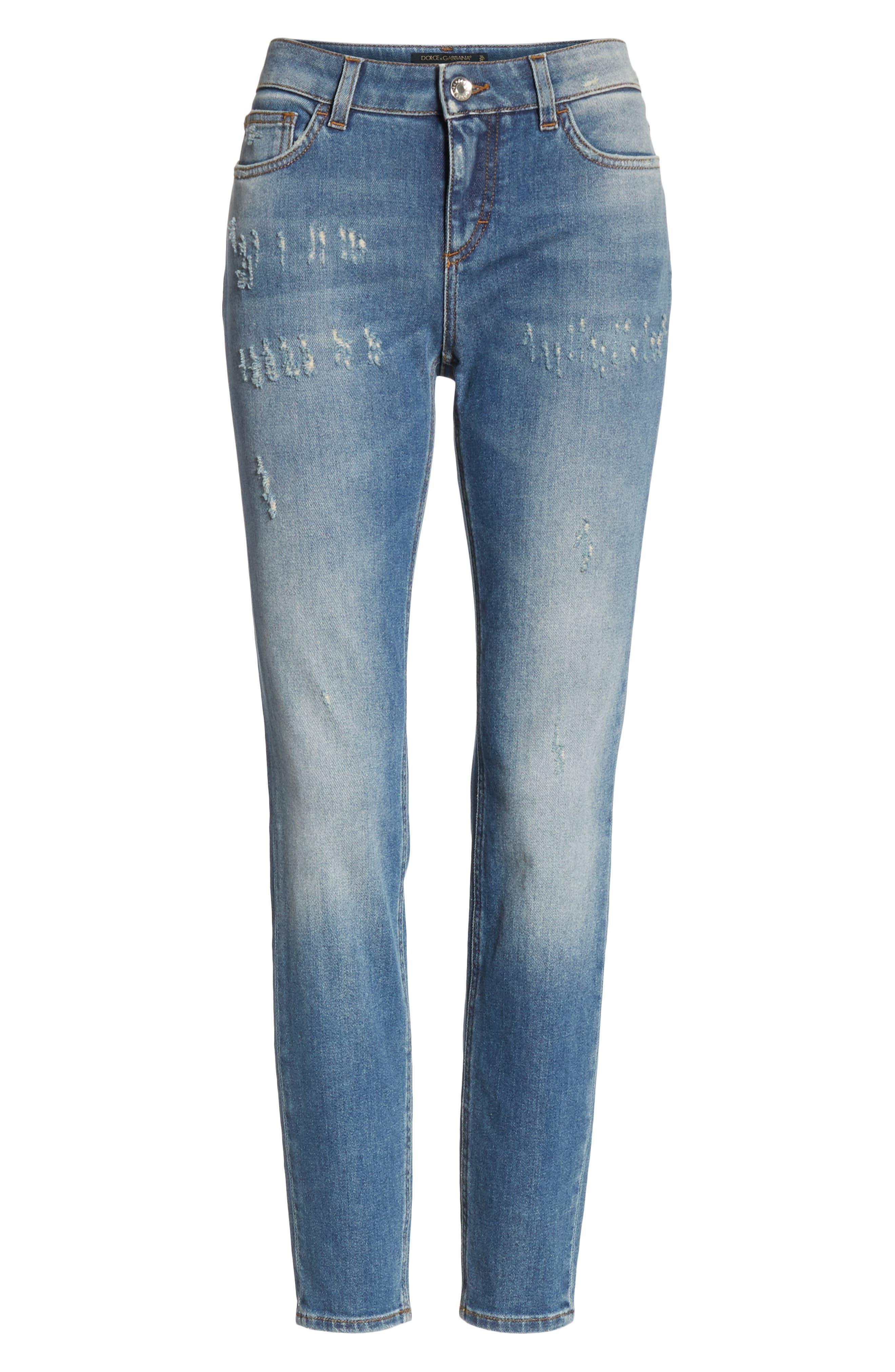 DOLCE&GABBANA, Logo Plaque Skinny Jeans, Alternate thumbnail 6, color, MED BLUE