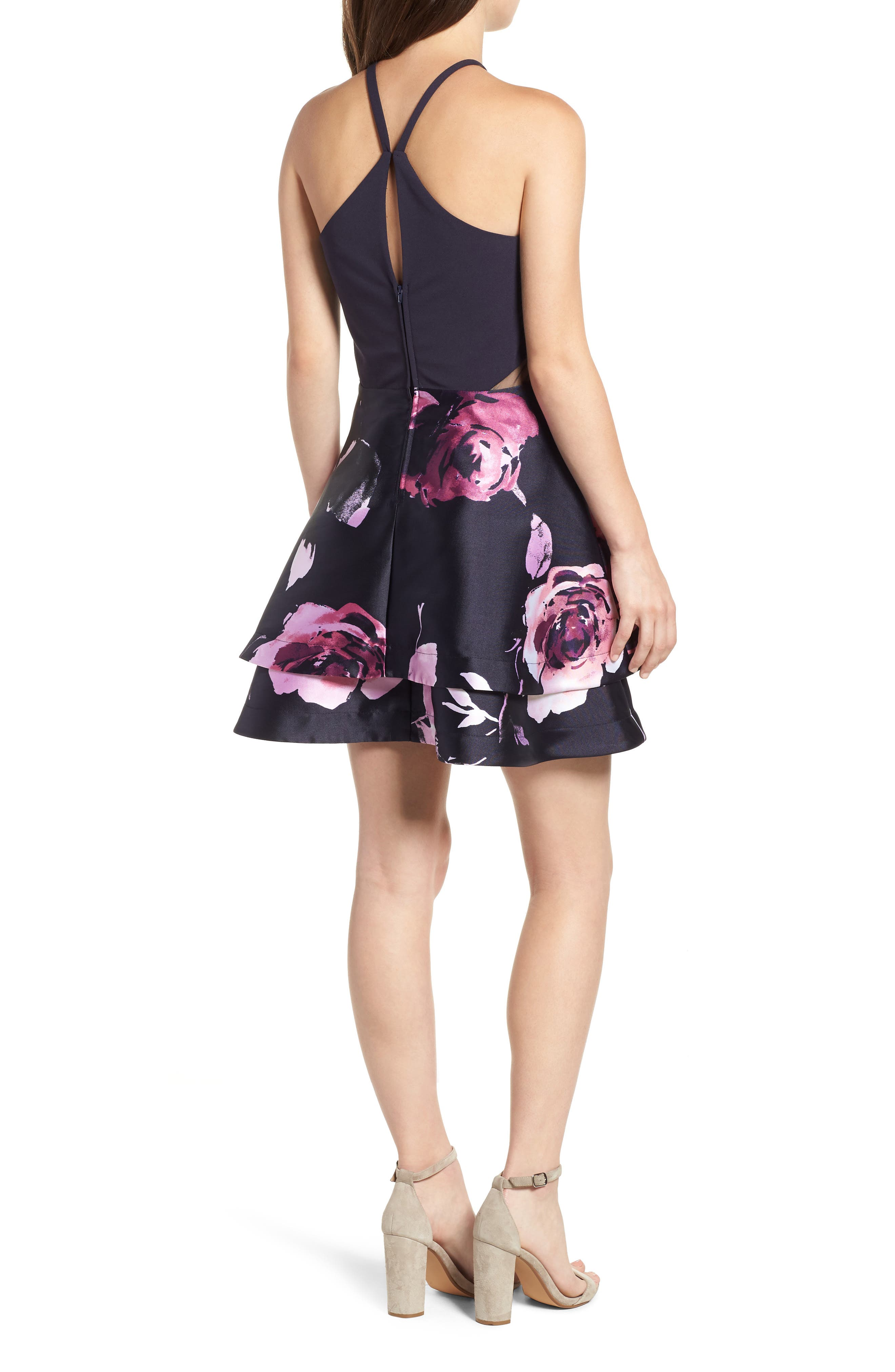 SPEECHLESS, Floral Fit & Flare Dress, Alternate thumbnail 2, color, NAVY/ BLUSH