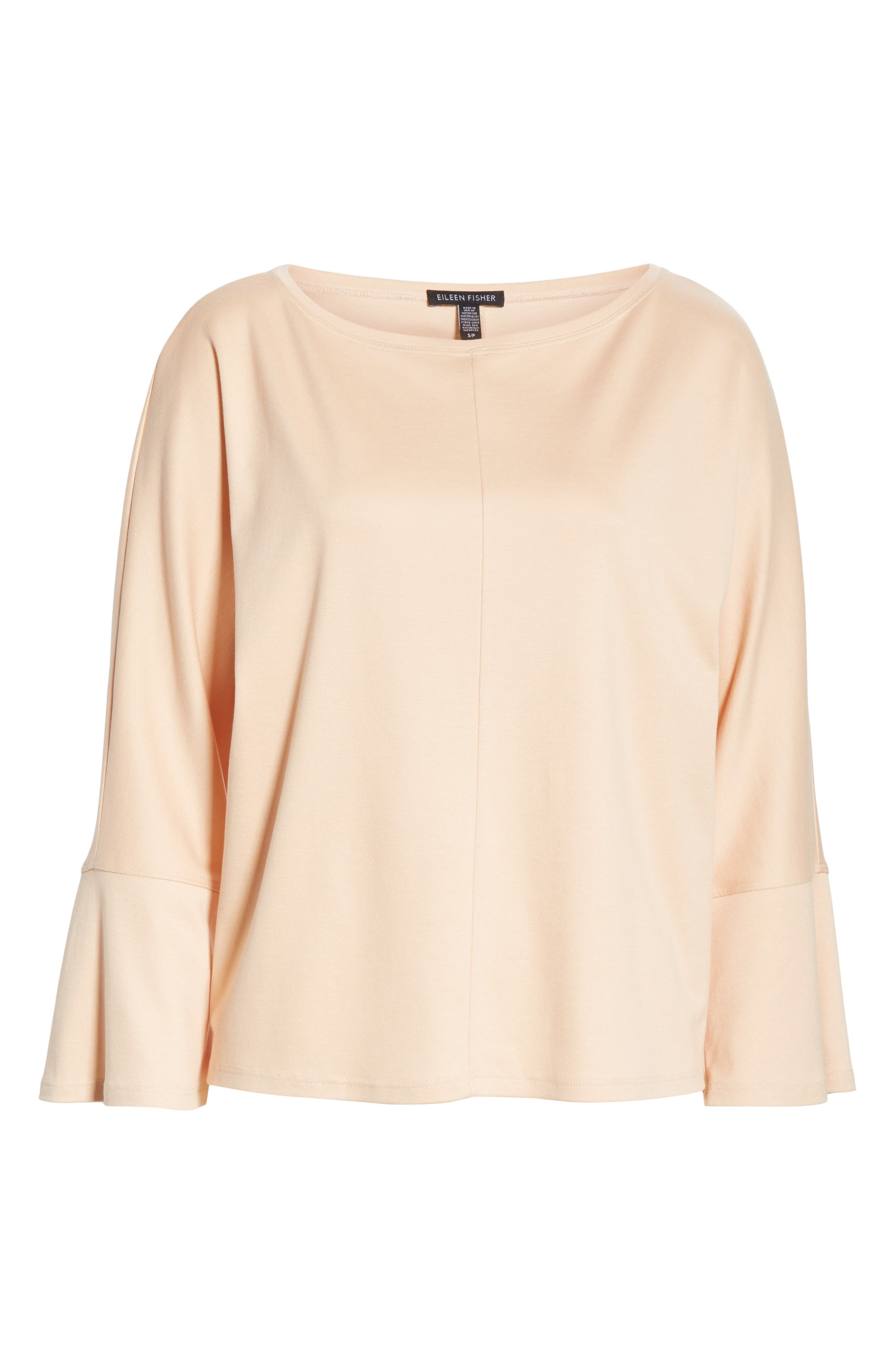 EILEEN FISHER, Bell Sleeve Top, Alternate thumbnail 6, color, ROSE WATER