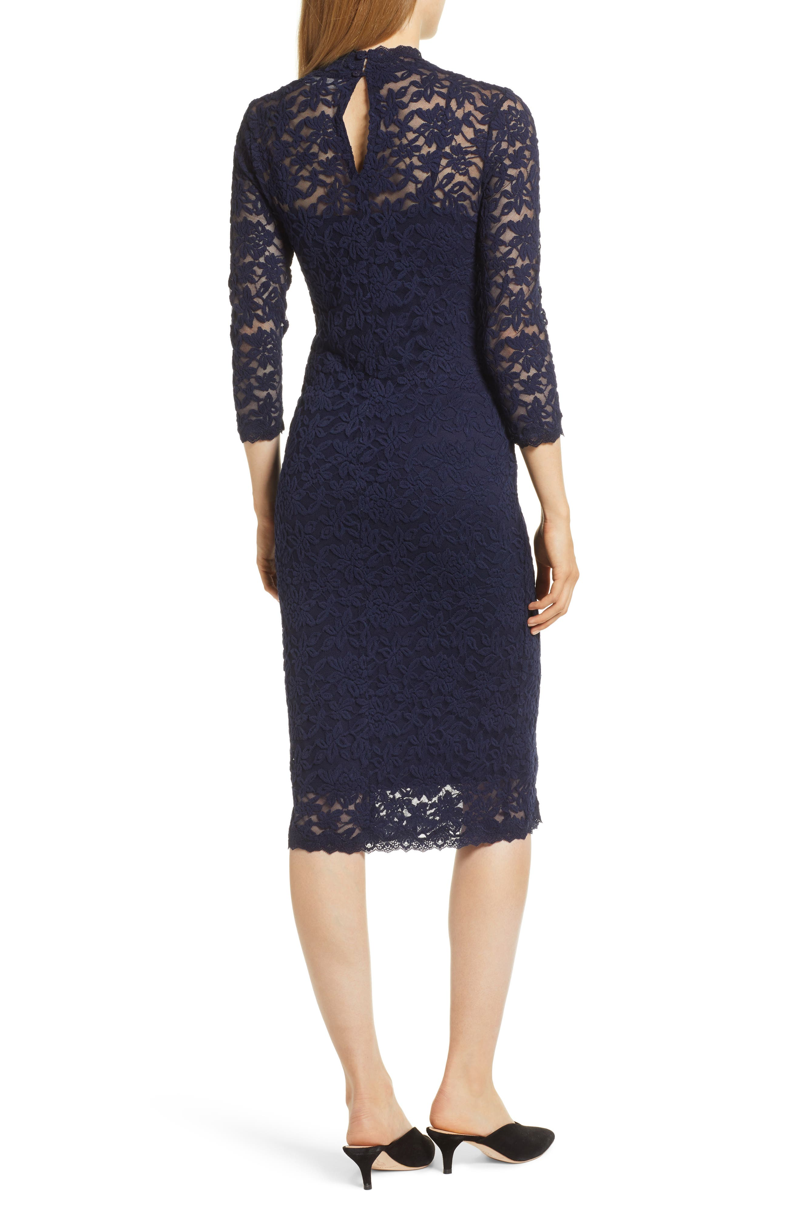 ROSEMUNDE, Delicia Lace Body-Con Dress, Alternate thumbnail 2, color, MARITIME BLUE