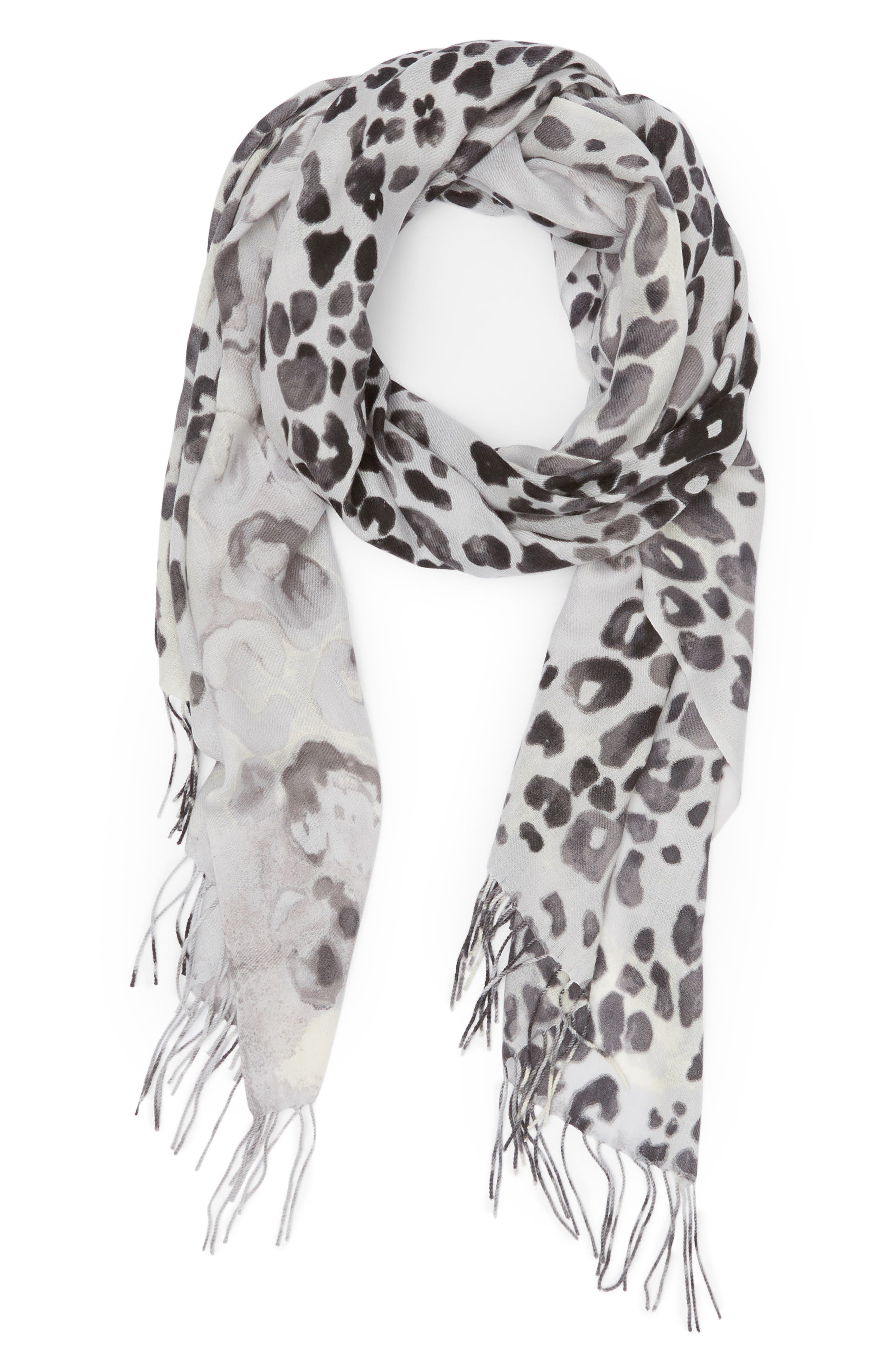 NORDSTROM, Tissue Print Wool & Cashmere Wrap Scarf, Alternate thumbnail 2, color, 001