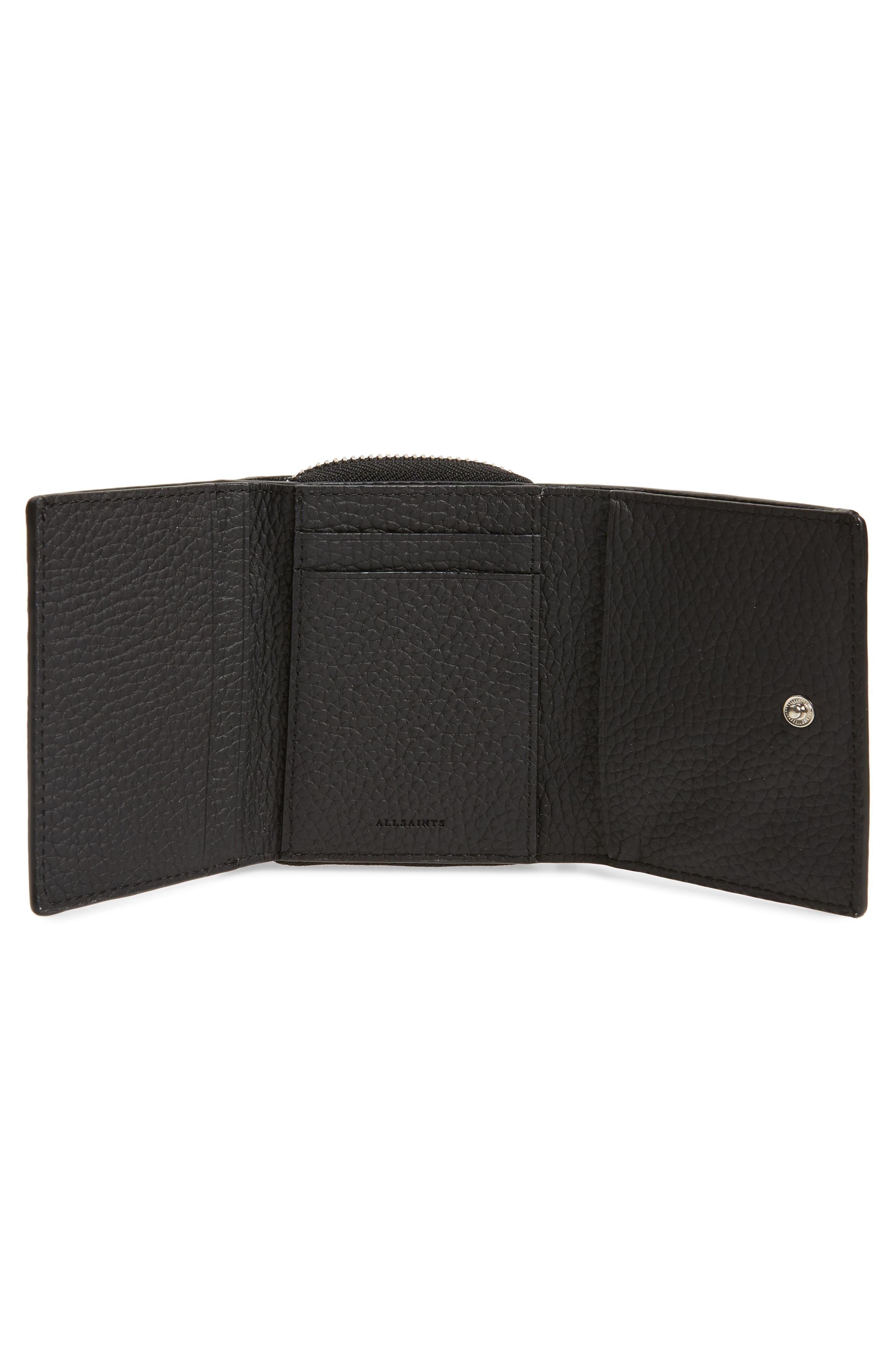ALLSAINTS, Captain Leather Trifold Wallet, Alternate thumbnail 2, color, BLACK