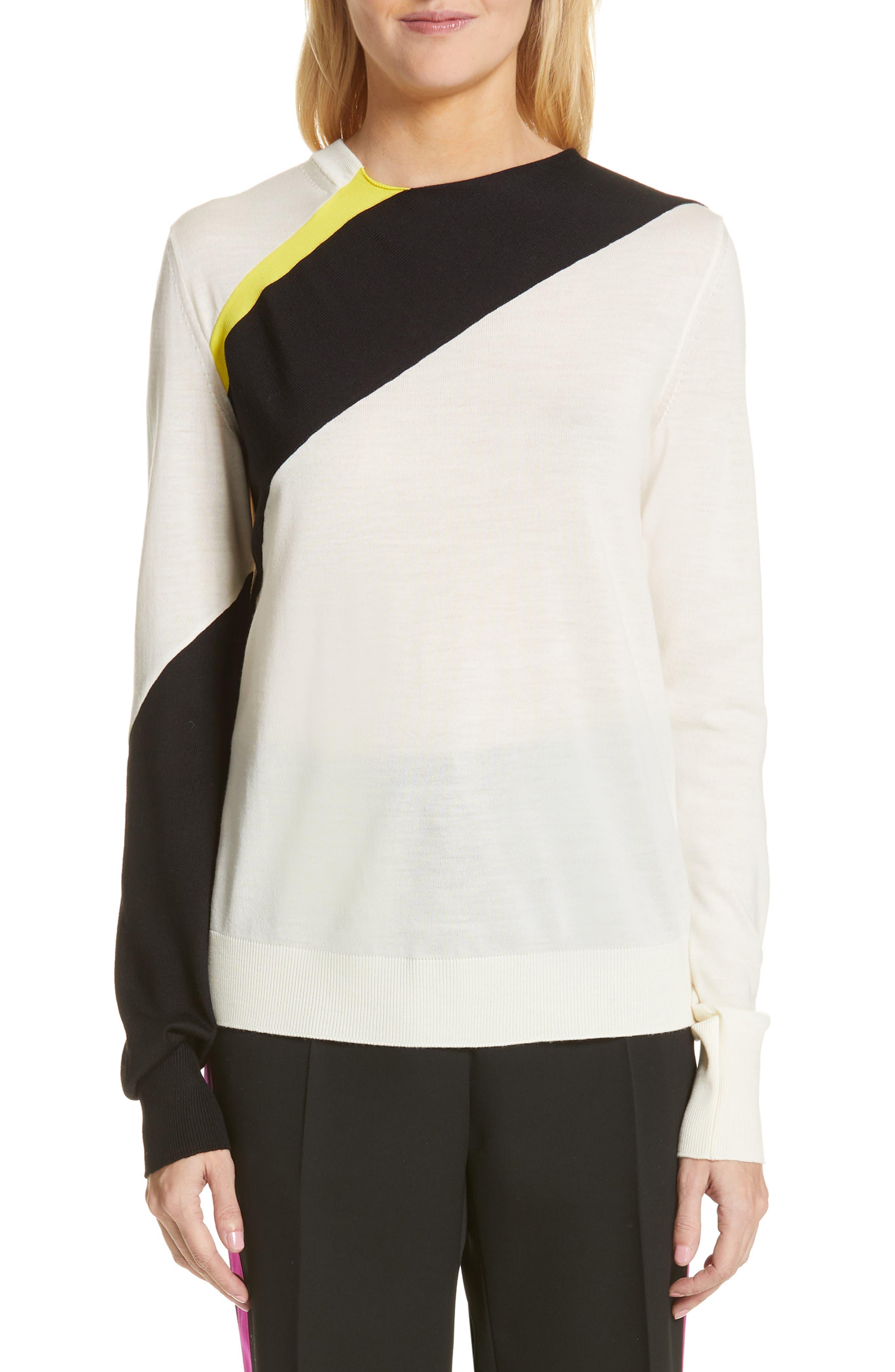 CALVIN KLEIN 205W39NYC, Contrast Stripe Wool Blend Sweater, Main thumbnail 1, color, WHITE BLACK TOURNESOL