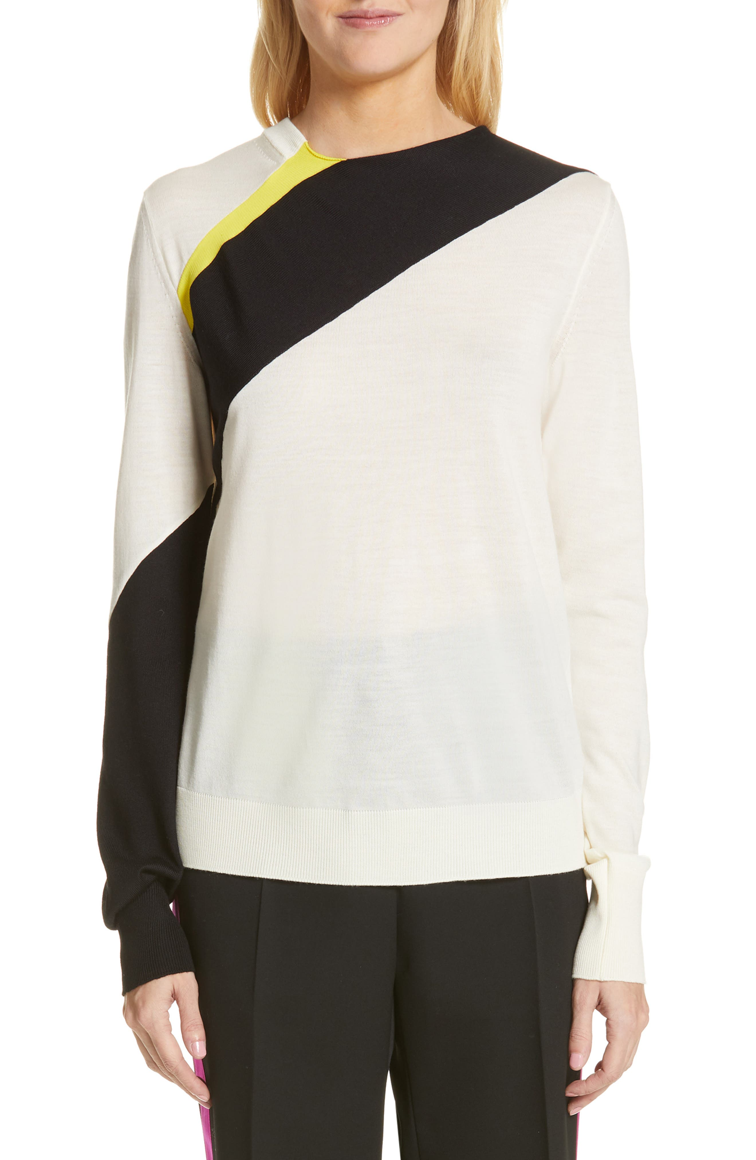 CALVIN KLEIN 205W39NYC Contrast Stripe Wool Blend Sweater, Main, color, WHITE BLACK TOURNESOL