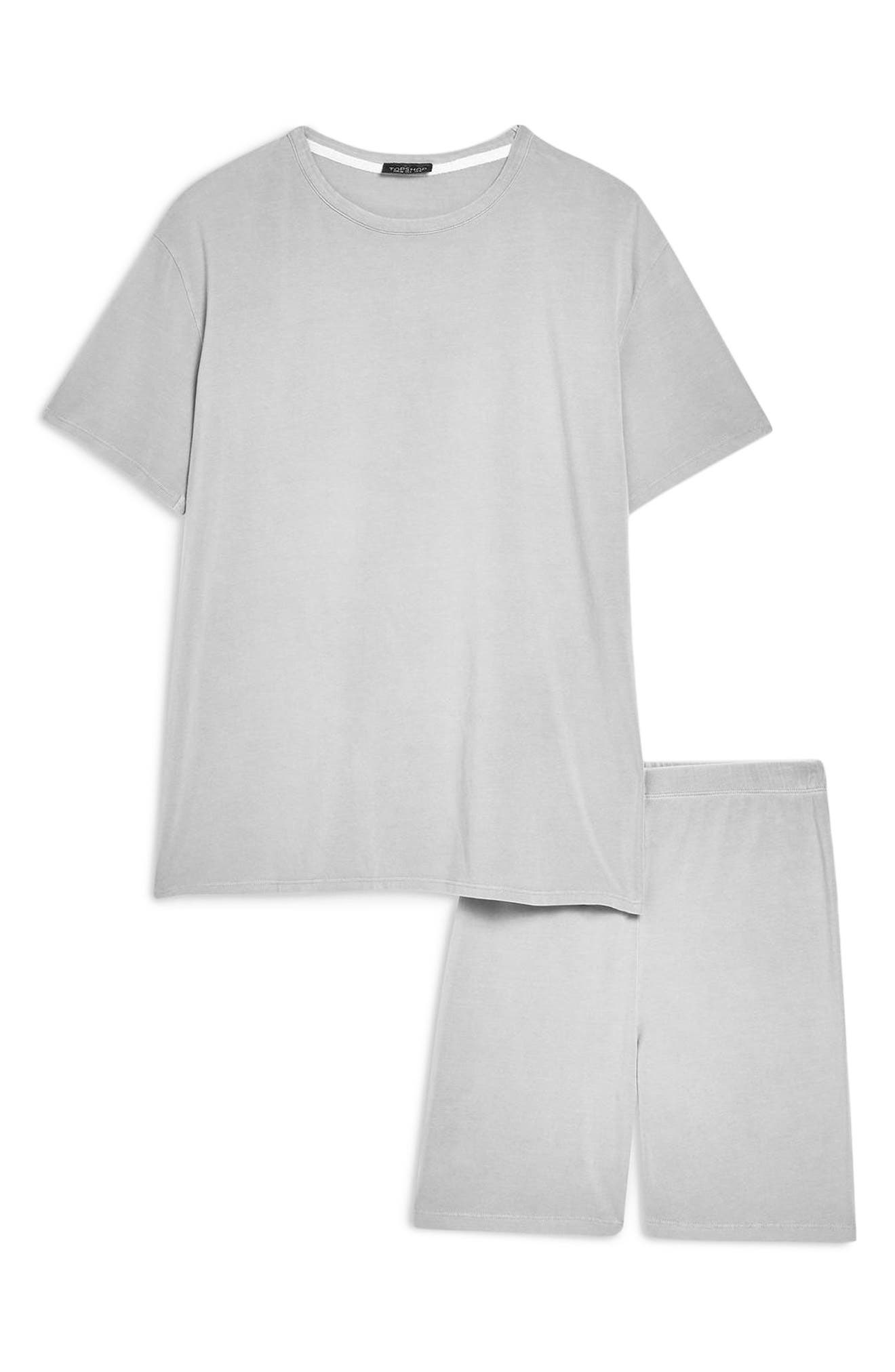 TOPSHOP, Washed Cycle Loungewear Set, Alternate thumbnail 3, color, STONE