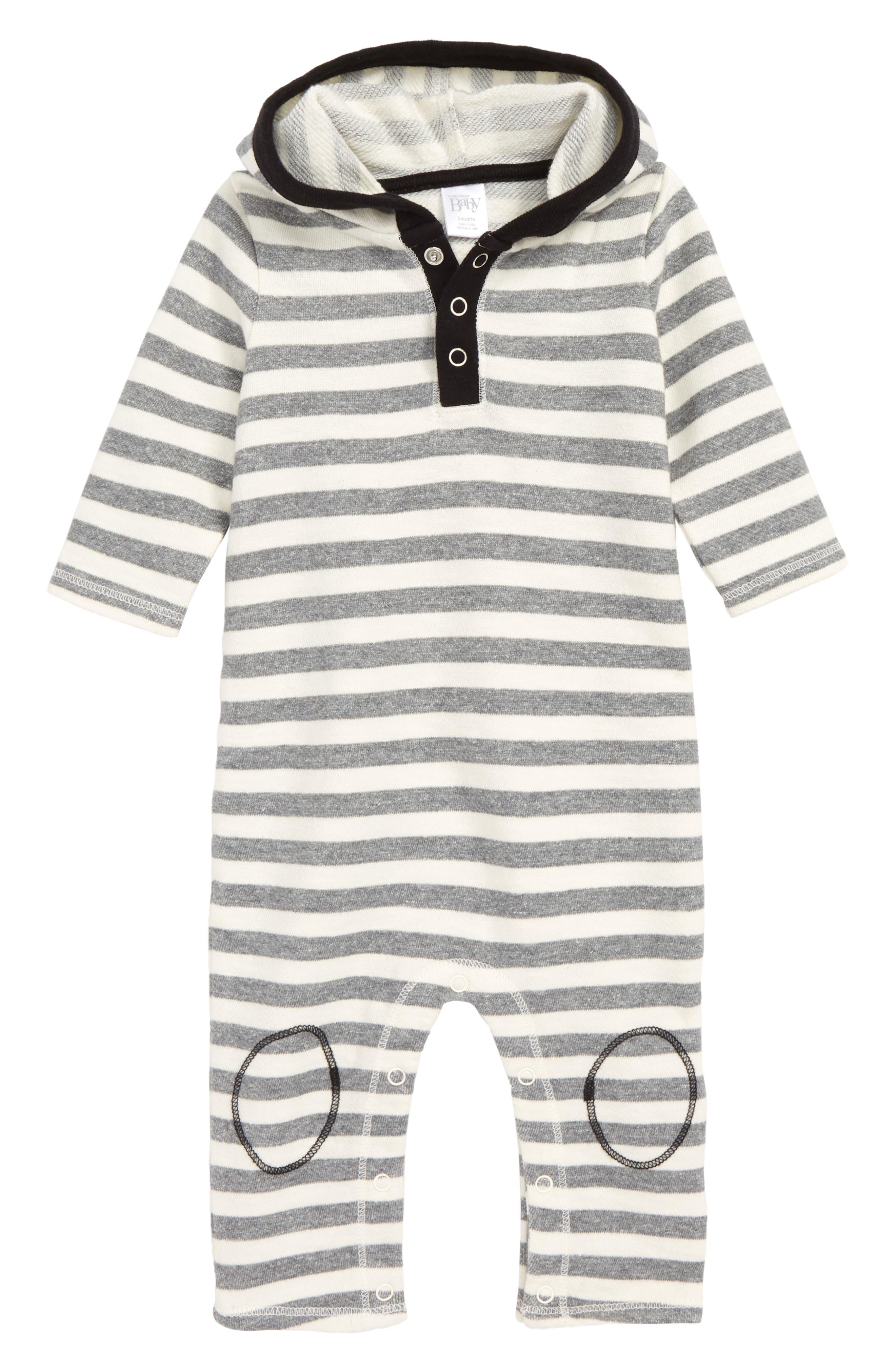 NORDSTROM BABY, Stripe Hooded Romper, Main thumbnail 1, color, IVORY EGRET- GREY STRIPE