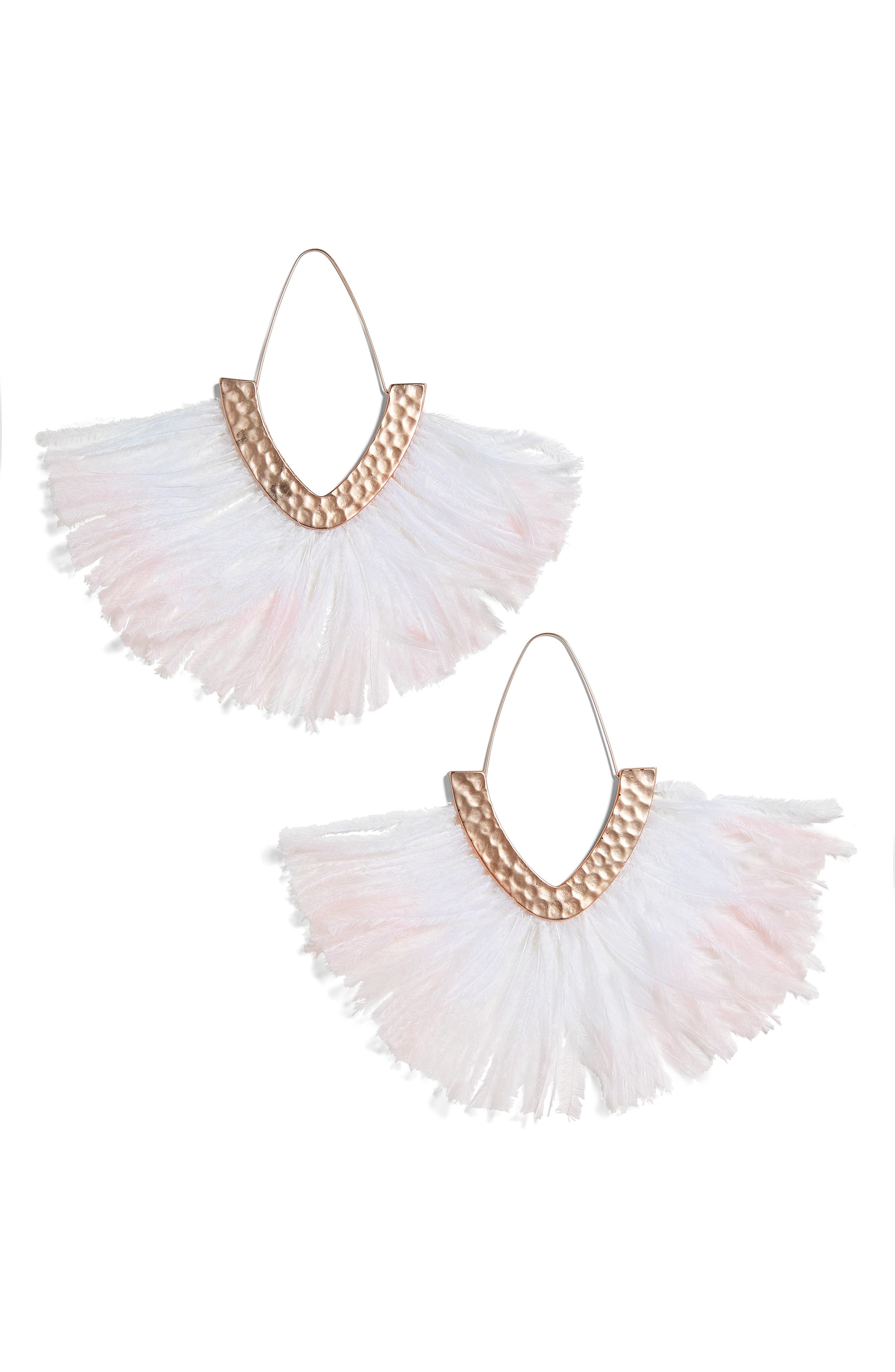 BAUBLEBAR, Feather Fringe Drop Earrings, Main thumbnail 1, color, BLUSH