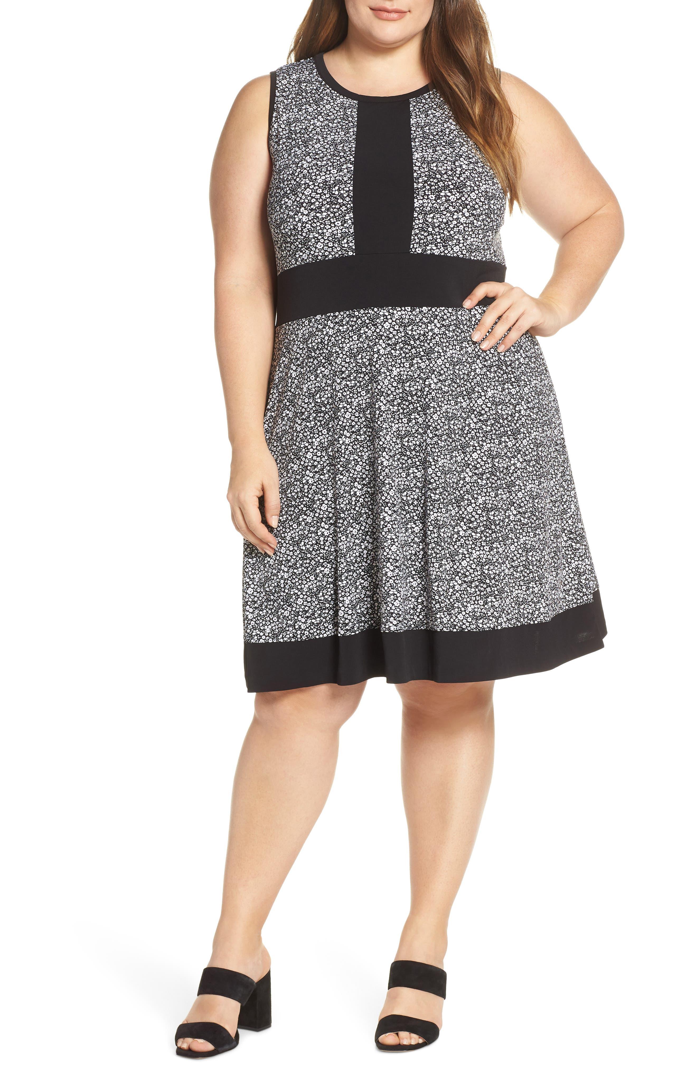 MICHAEL MICHAEL KORS, Spring Twist Dress, Main thumbnail 1, color, BLACK/ WHITE