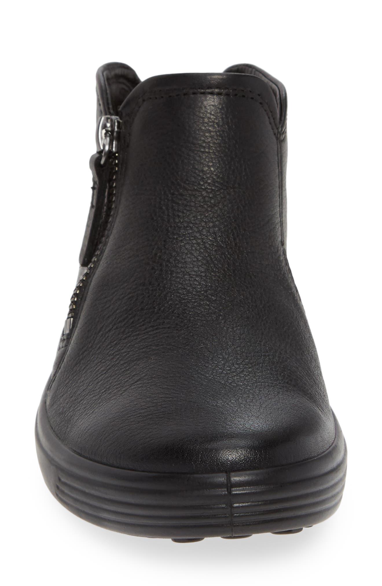ECCO, Soft 7 Mid Top Sneaker, Alternate thumbnail 4, color, BLACK/ BLACK LEATHER