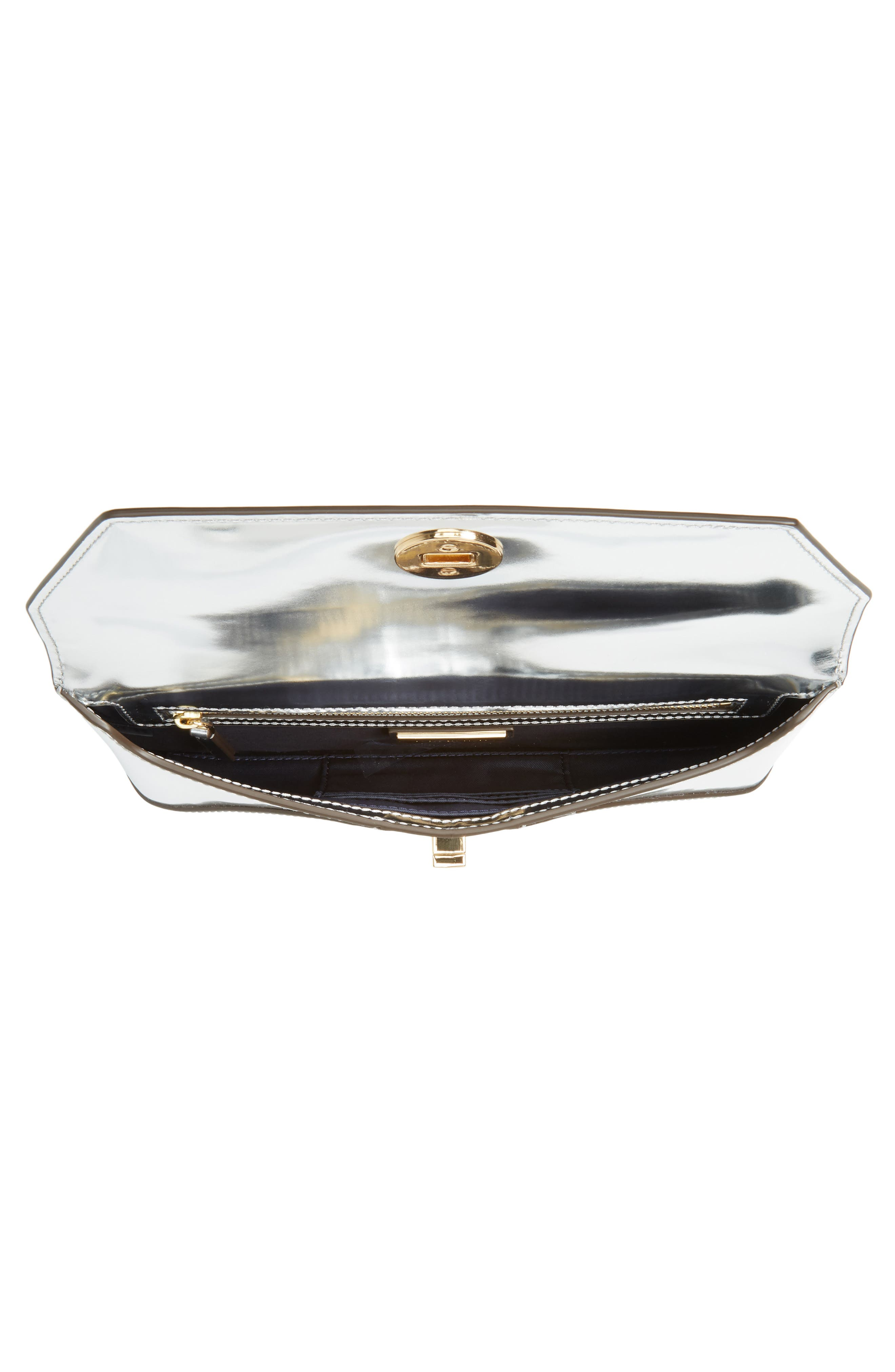 TORY BURCH, Kira Leather Envelope Clutch, Alternate thumbnail 5, color, MIRROR METALLIC SILVER