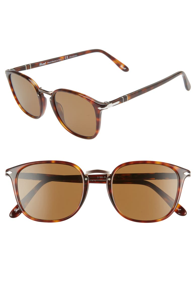 Persol 51MM POLARIZED SQUARE SUNGLASSES - TORTOISE BROWN/ BLACK