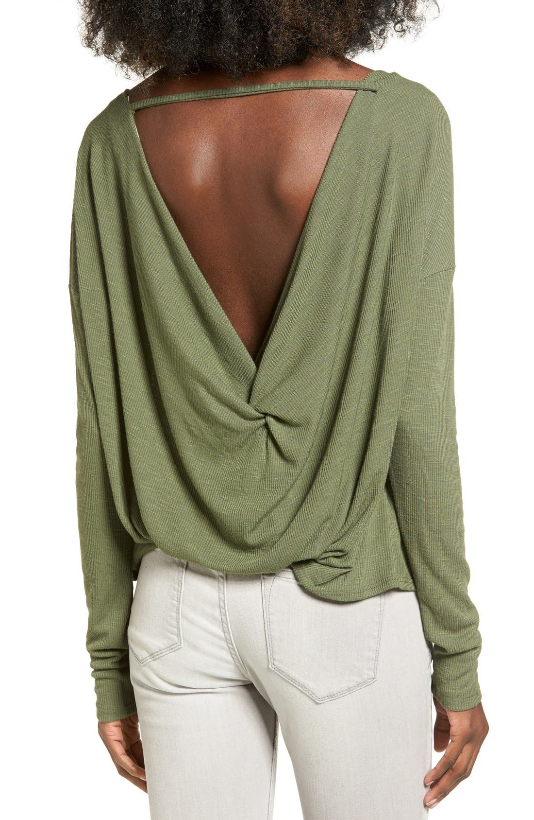 CHLOE & KATIE, Knotted Drape Back Tee, Alternate thumbnail 5, color, 300