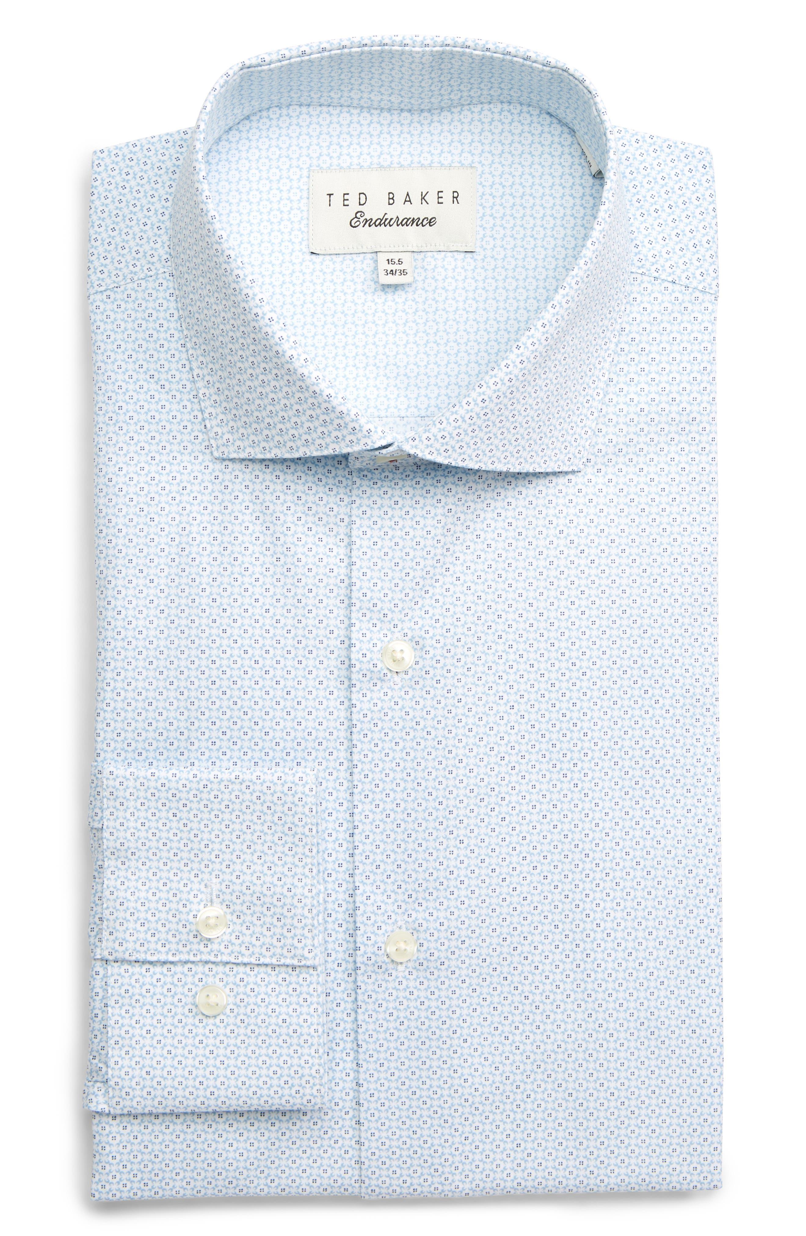 TED BAKER LONDON, Endurance Wobego Slim Fit Geometric Dress Shirt, Main thumbnail 1, color, BLUE