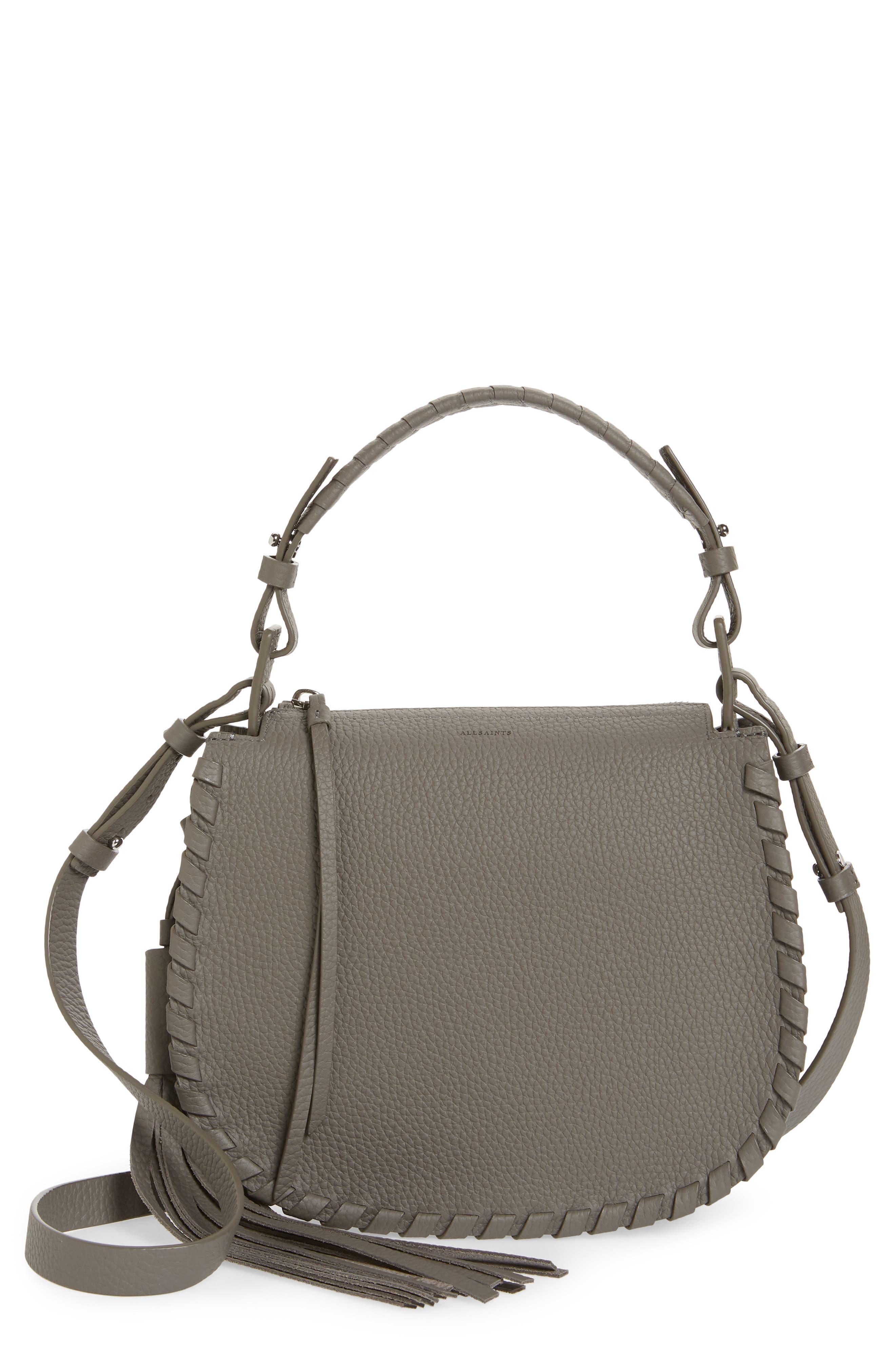 ALLSAINTS, Mori Leather Crossbody Bag, Main thumbnail 1, color, STORM GREY