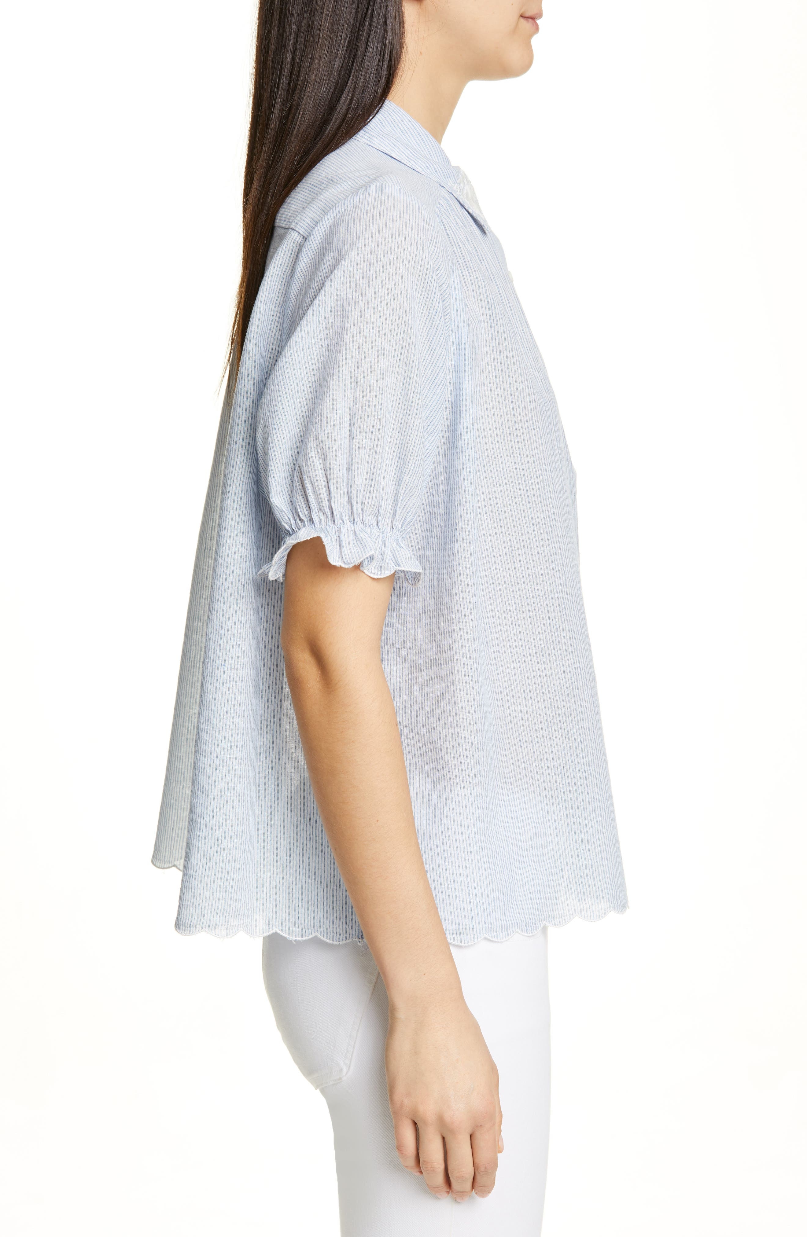 THE GREAT., The Kerchief Embroidered Cotton Top, Alternate thumbnail 3, color, CAROLINA STRIPE