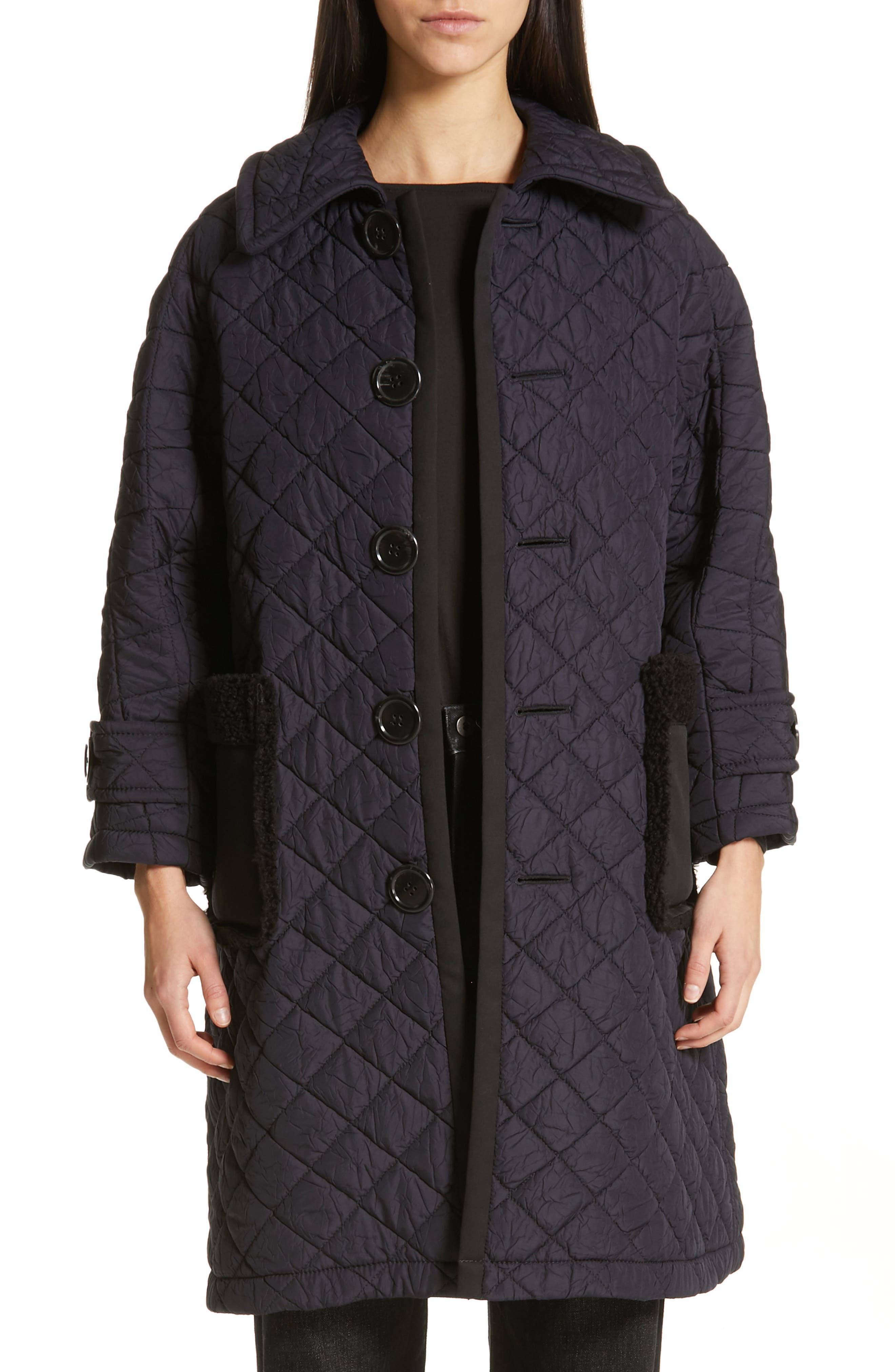 TRICOT COMME DES GARÇONS Quilted Coat with Faux Fur Trim, Main, color, NAVY X BLACK