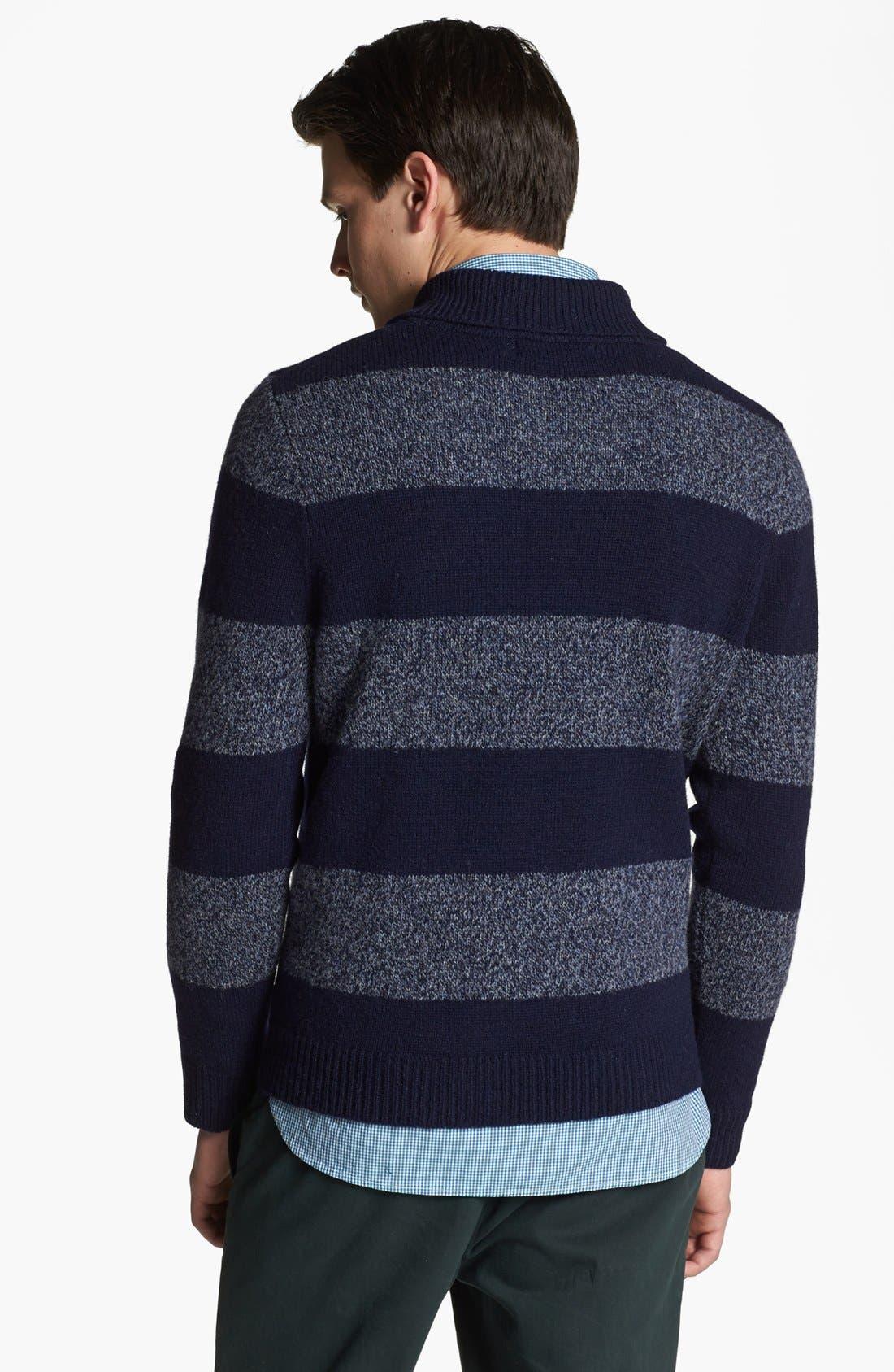 SHIPLEY & HALMOS, 'Earnest' Stripe Wool Shawl Collar Sweater, Alternate thumbnail 2, color, 415
