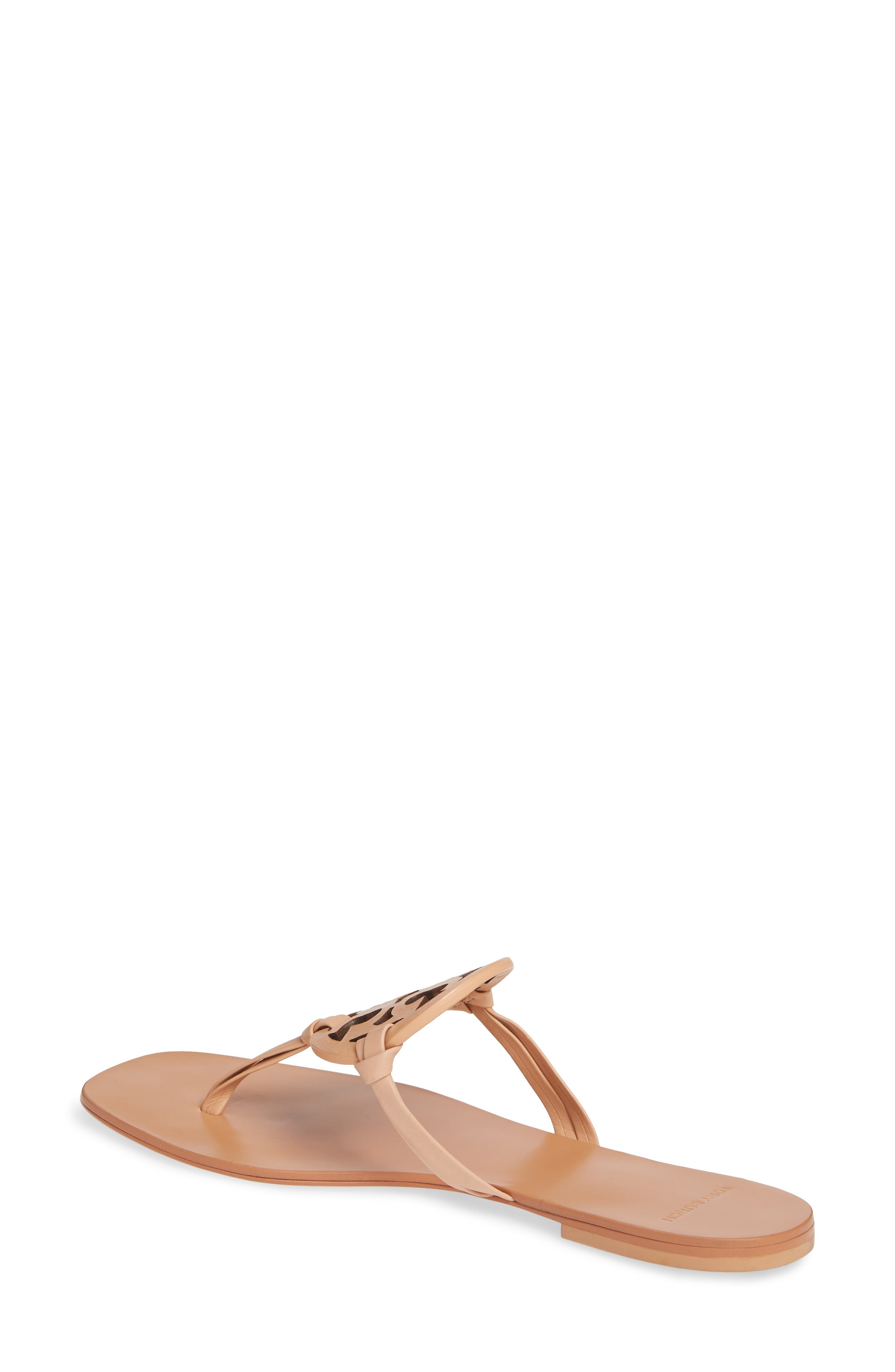 TORY BURCH, Miller Square Toe Thong Sandal, Alternate thumbnail 2, color, NATURAL VACHETTA