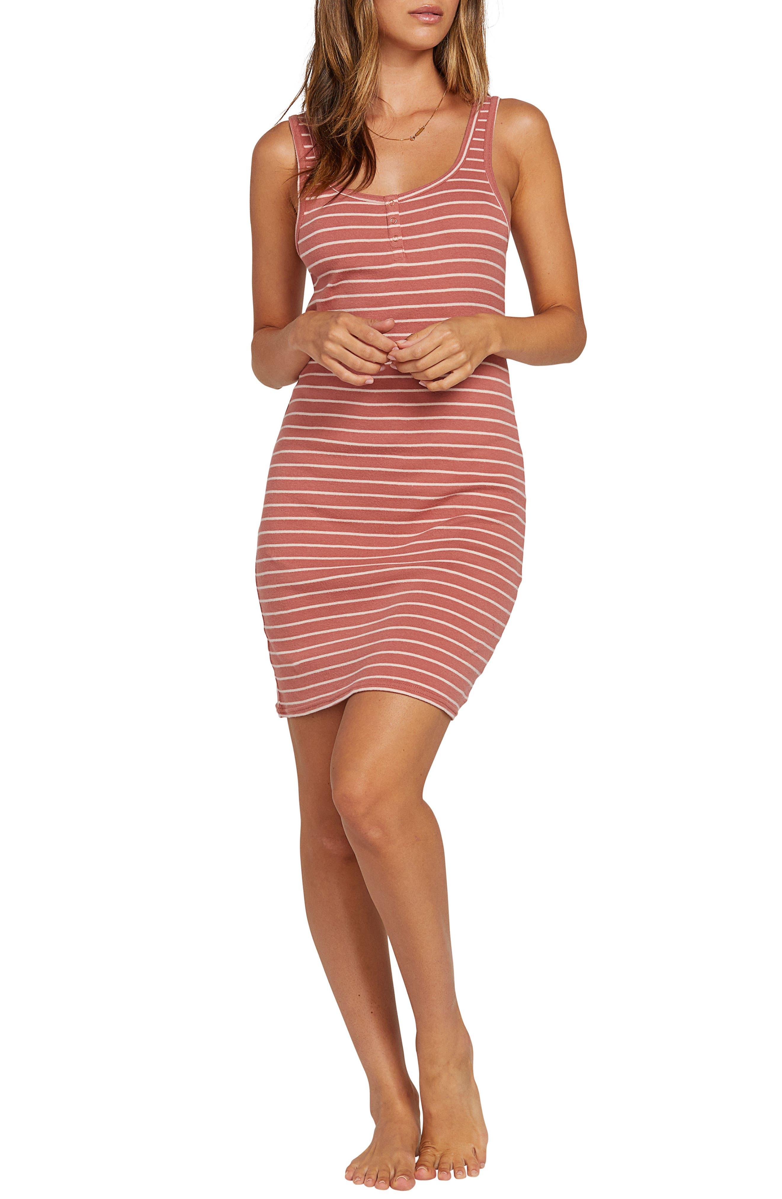 Volcom Lil Stripe Body-Con Minidress, Pink