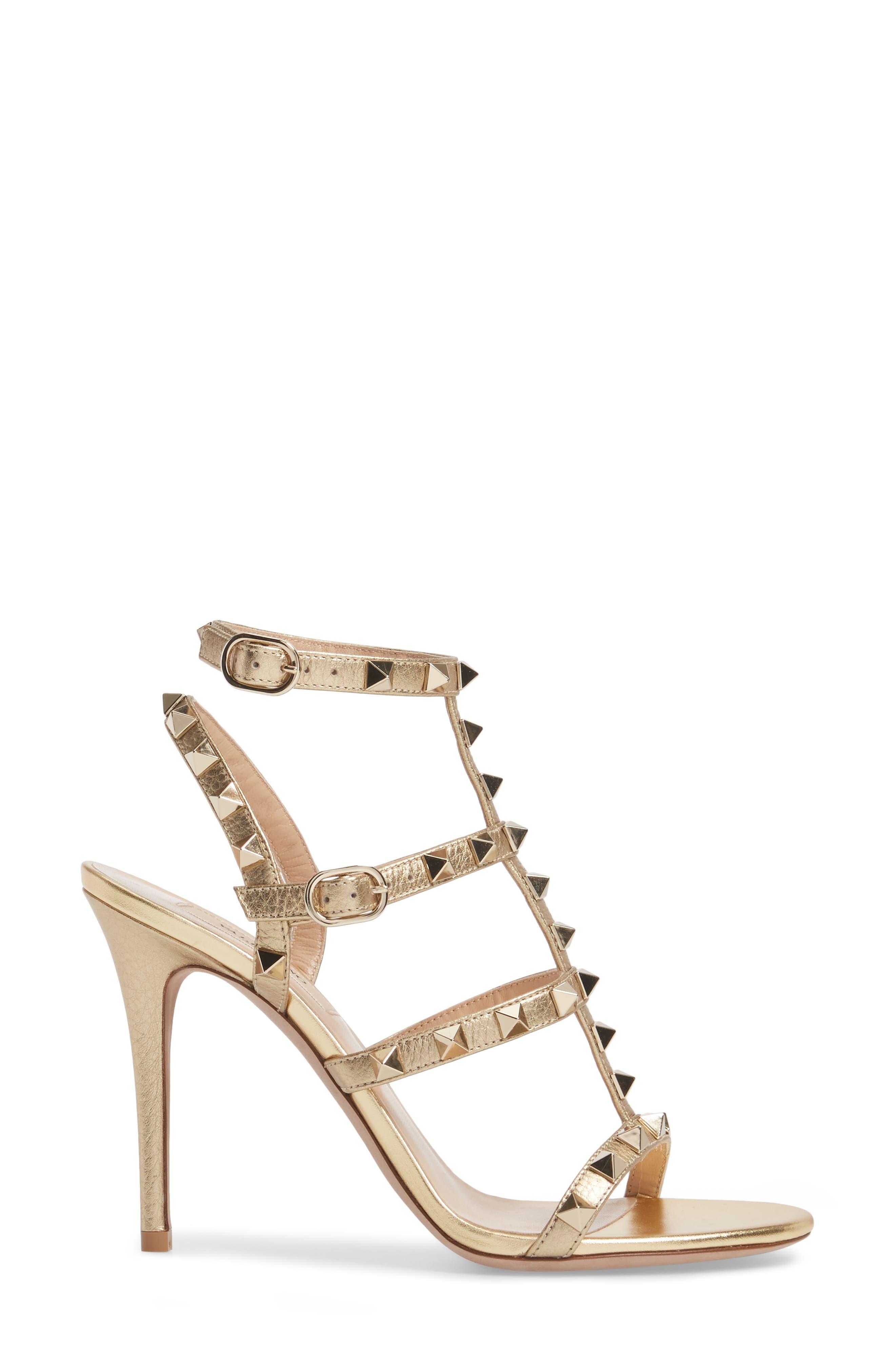 VALENTINO GARAVANI, Rockstud Metallic Ankle Strap Sandal, Alternate thumbnail 3, color, 710