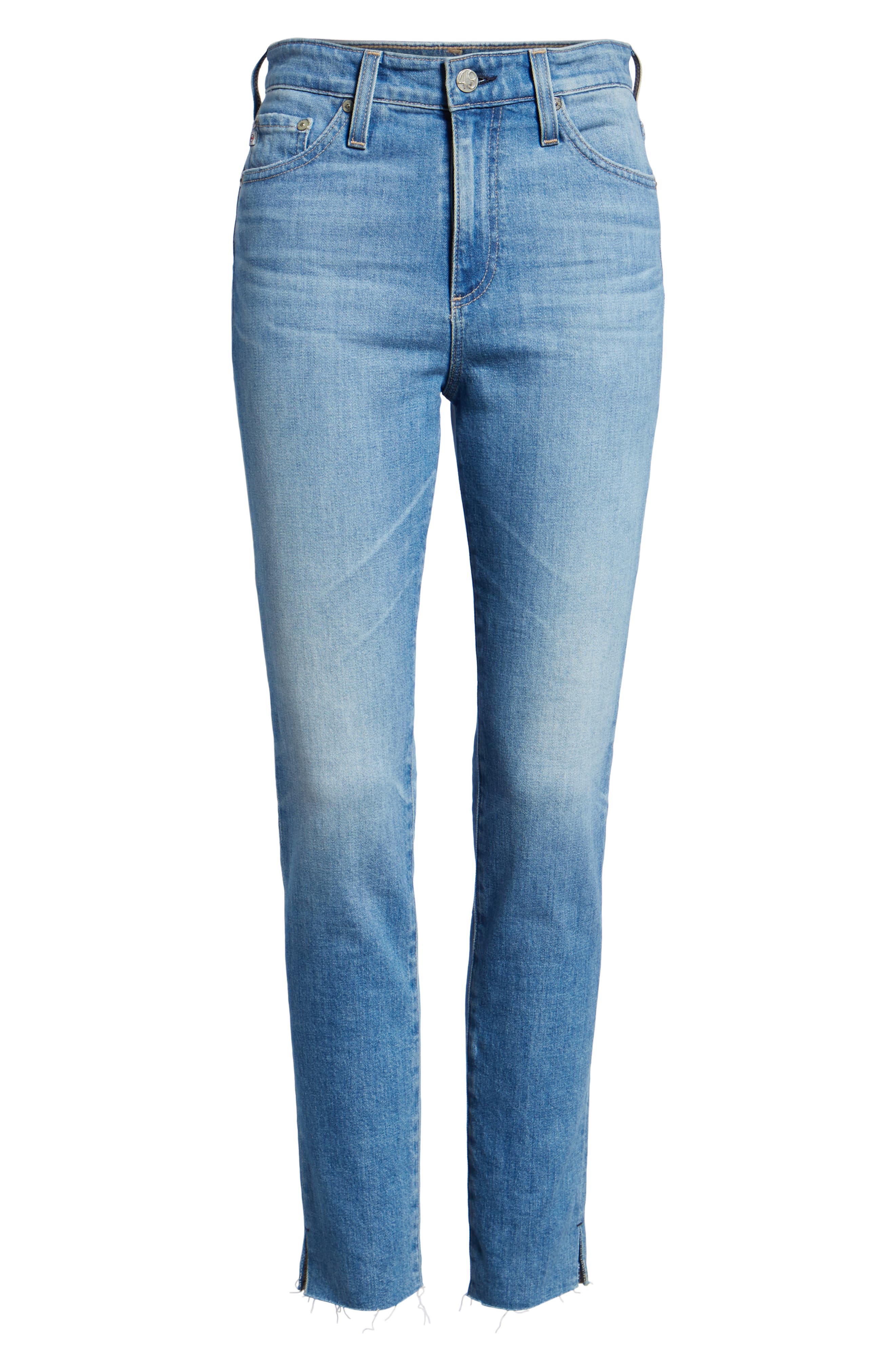 AG, Sophia Raw Hem High Waist Ankle Skinny Jeans, Alternate thumbnail 7, color, 13Y AWESTRUCK