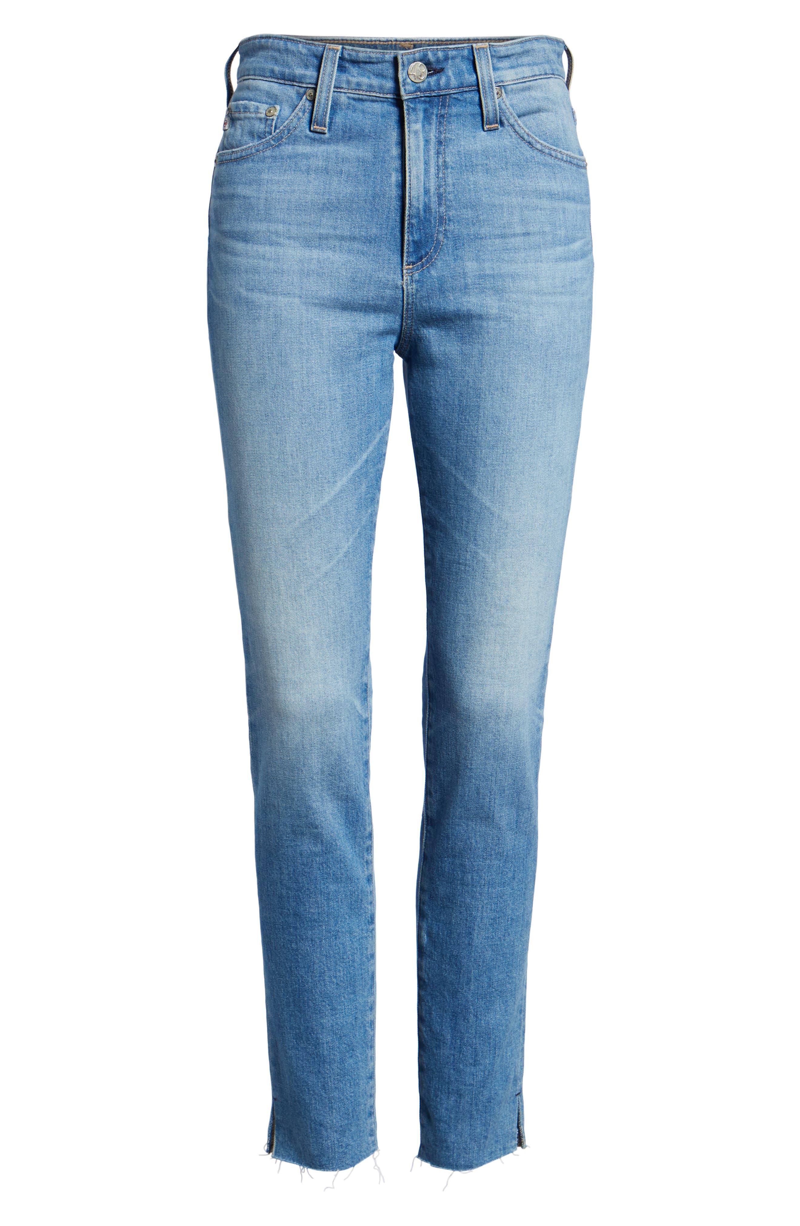 AG, Sophia Raw Hem High Waist Ankle Skinny Jeans, Alternate thumbnail 7, color, 467