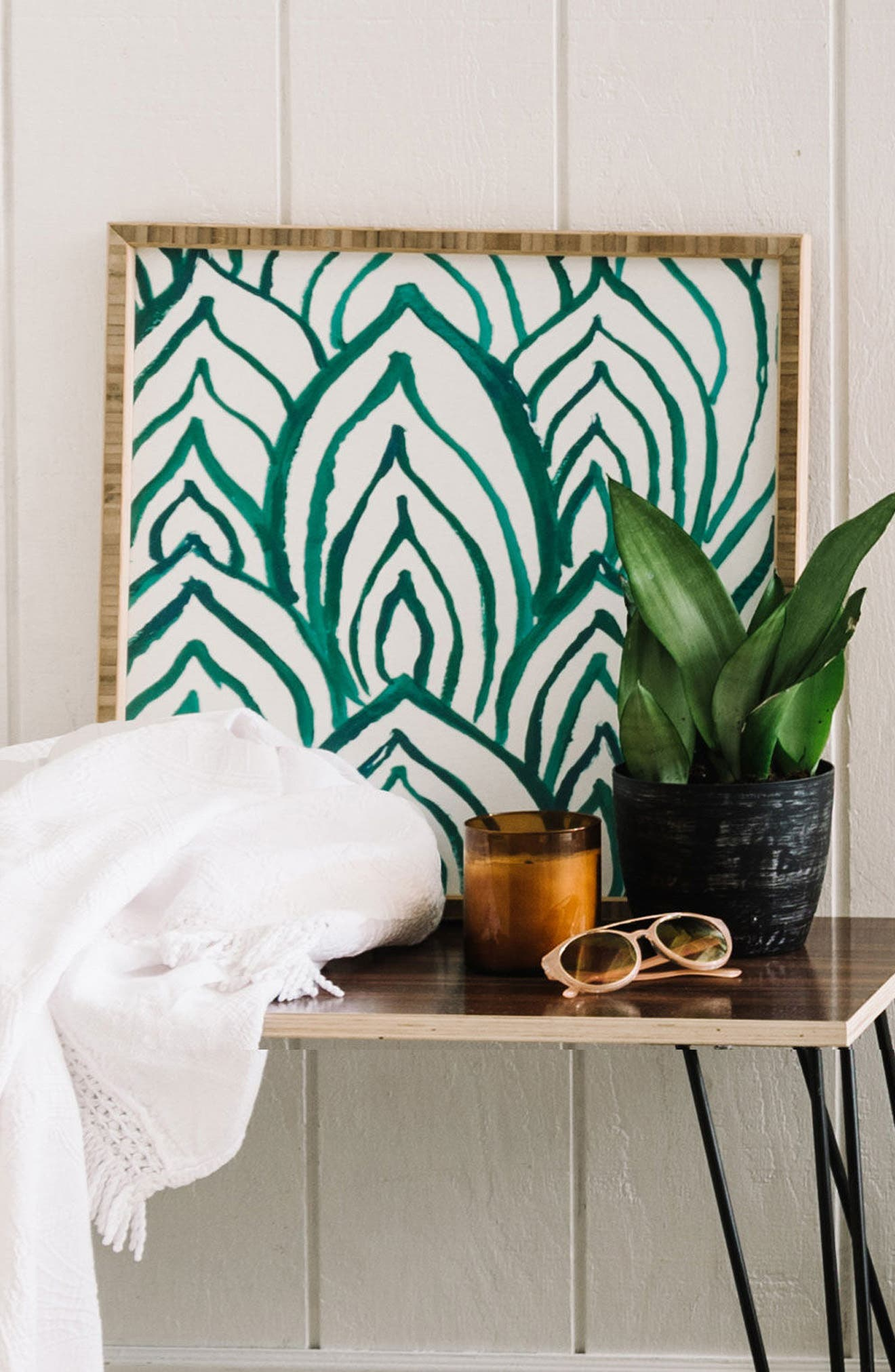 DENY DESIGNS, 'Emerald Coast' Framed Wall Art, Alternate thumbnail 4, color, 300
