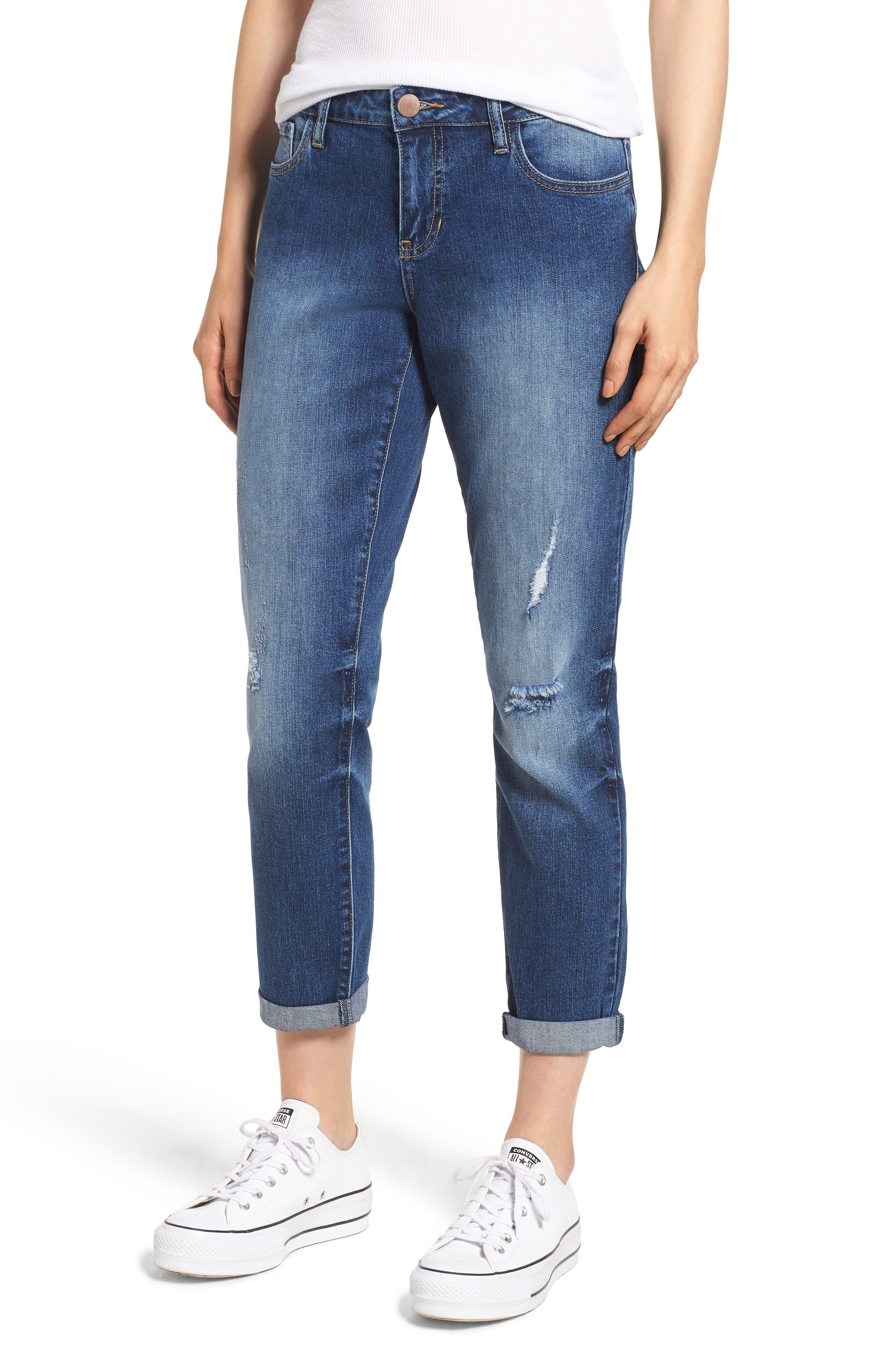 PROSPERITY DENIM, Ripped Girlfriend Jeans, Main thumbnail 1, color, BLUE