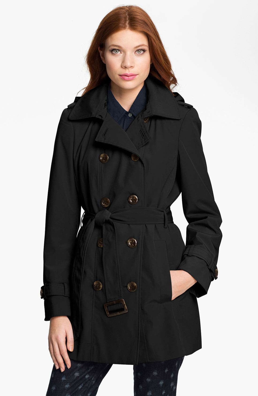 CALVIN KLEIN Trench Coat with Detachable Liner, Main, color, 001