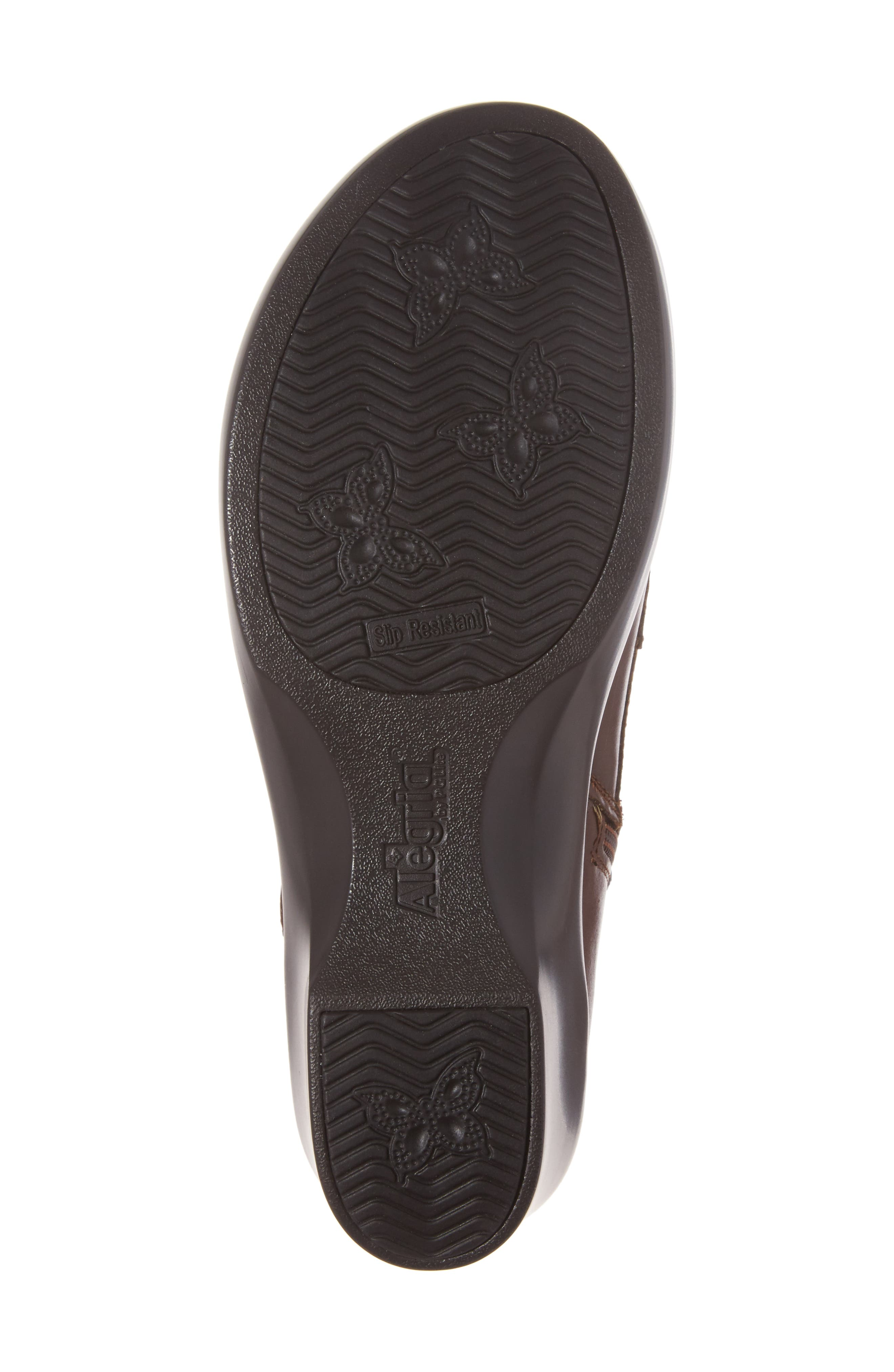 ALEGRIA, Eliza Water Resistant Bootie, Alternate thumbnail 6, color, CHESTNUT LUSTER LEATHER