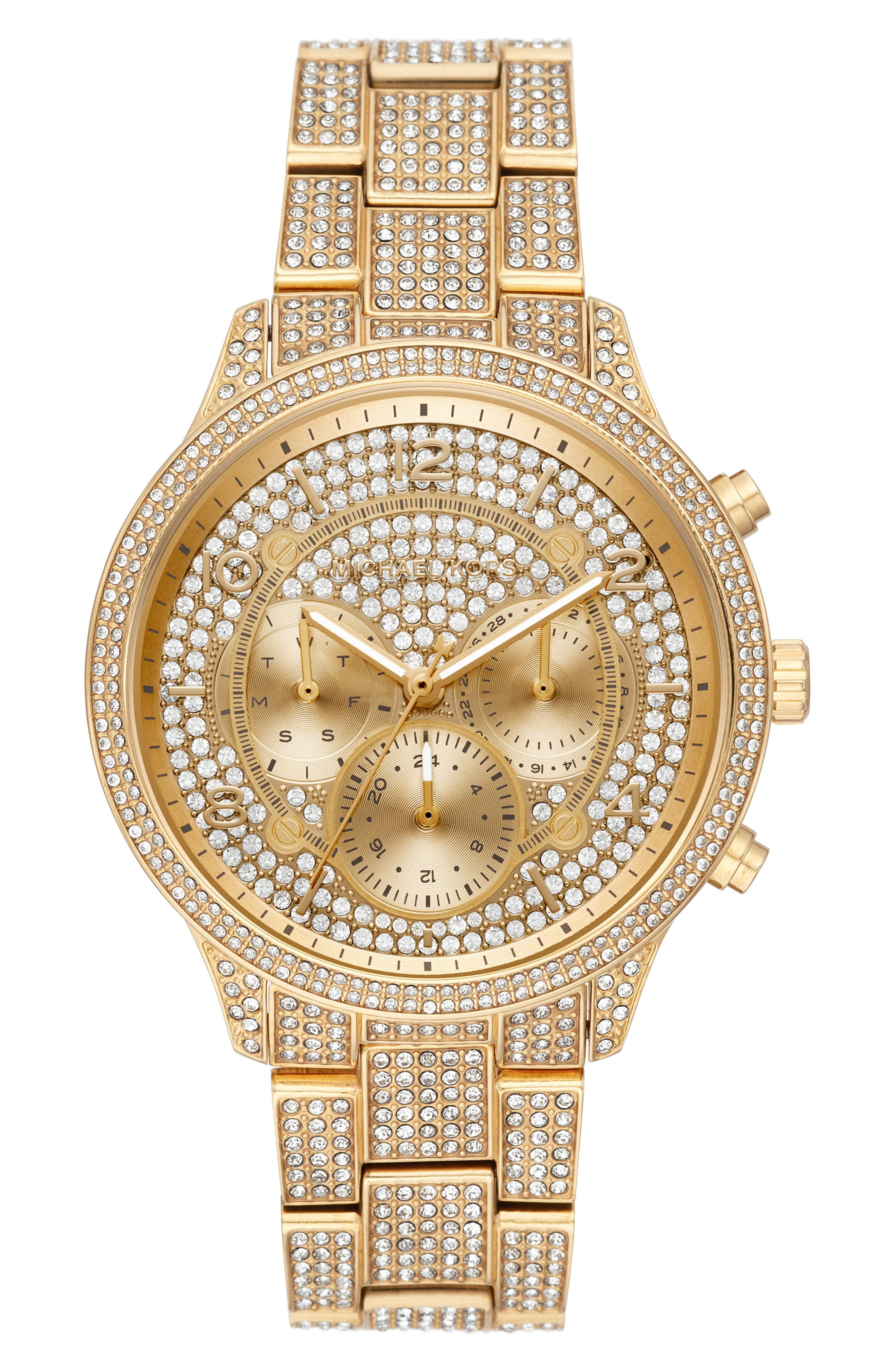 MICHAEL MICHAEL KORS, Runway Crystals Bracelet Watch, 43mm, Main thumbnail 1, color, GOLD