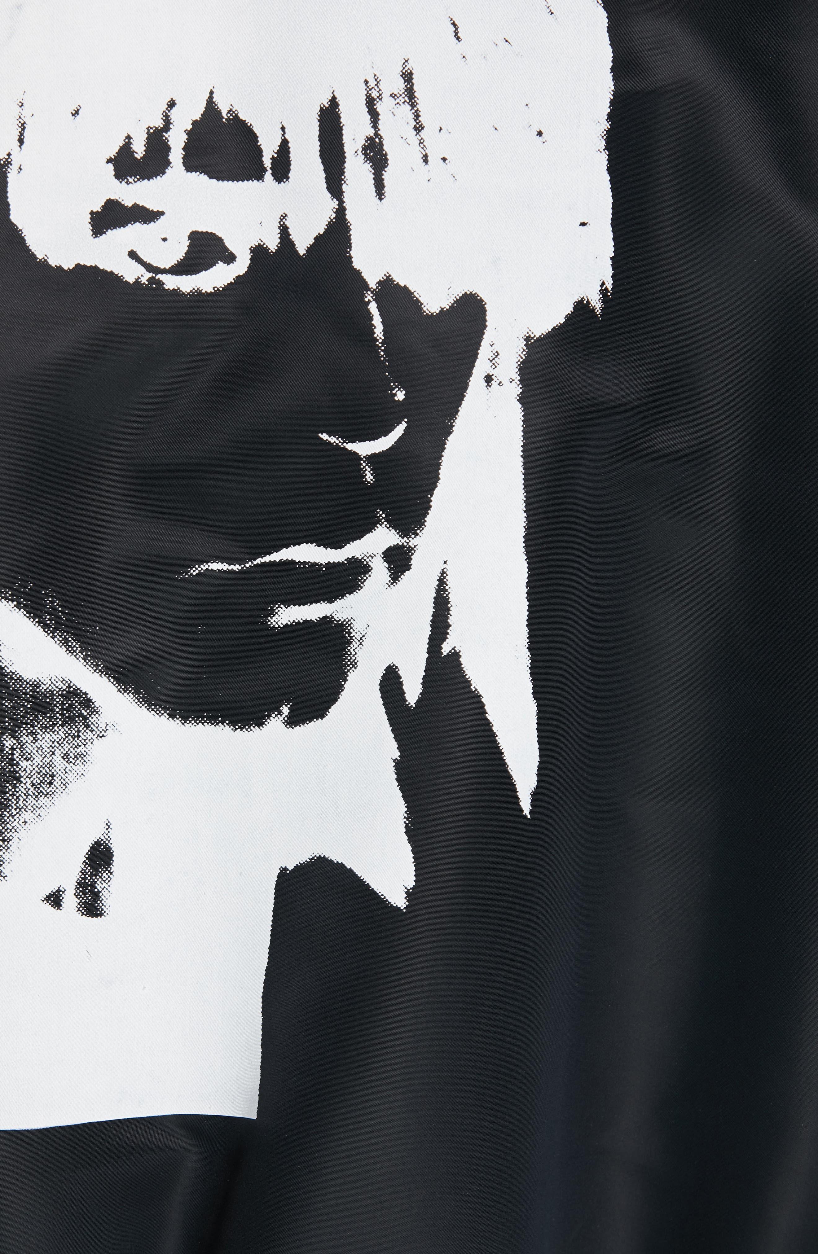 CALVIN KLEIN 205W39NYC, Satin Nylon Bomber Jacket, Alternate thumbnail 6, color, BLACK